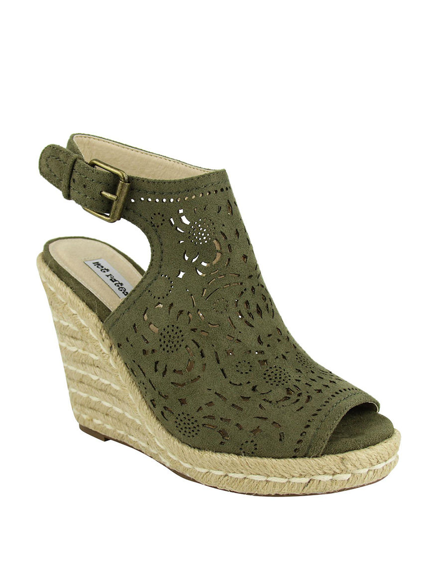 Not Rated Olive Espadrille Peep Toe Wedge Sandals