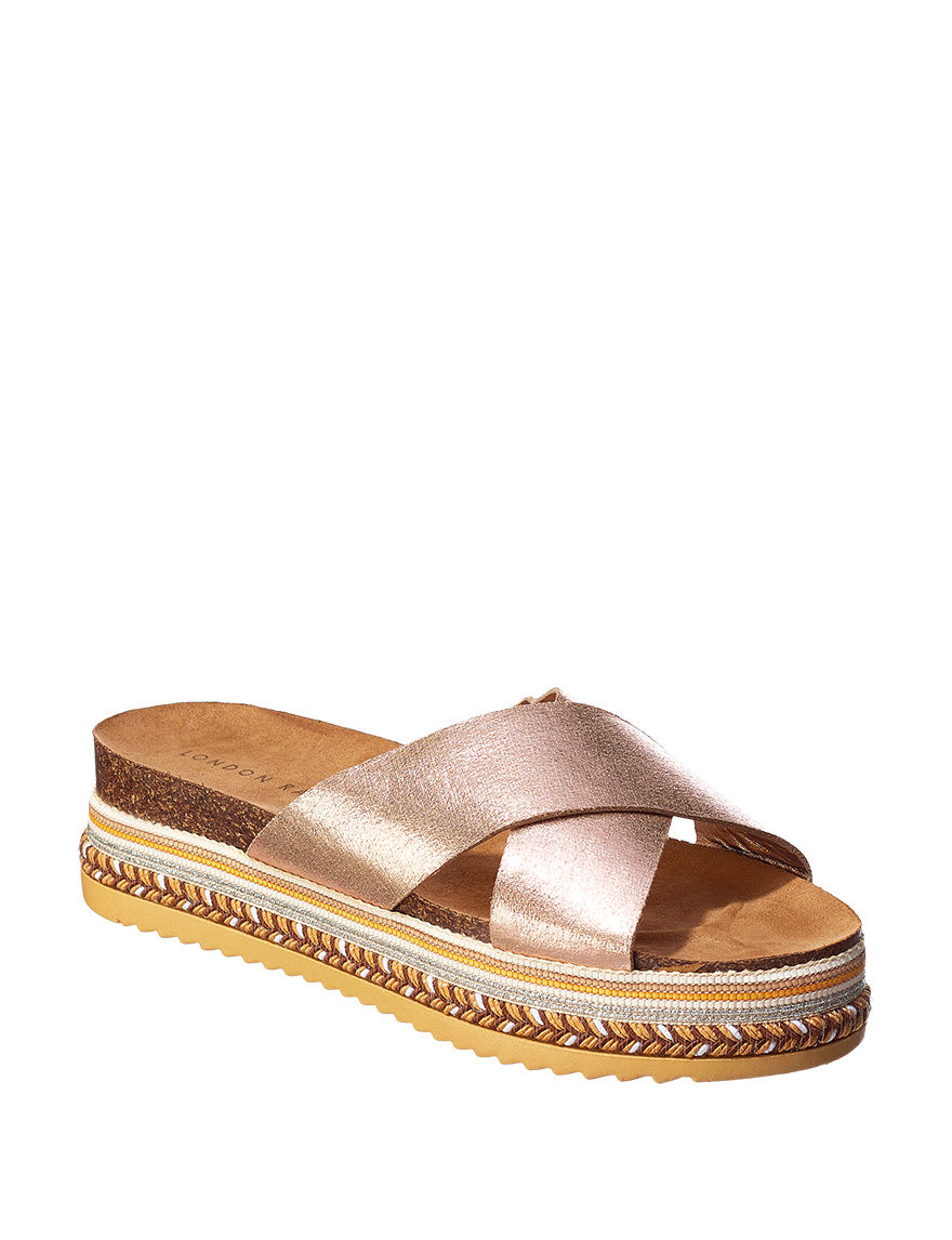 London Rag Bronze Footbed Platform Slide Sandals