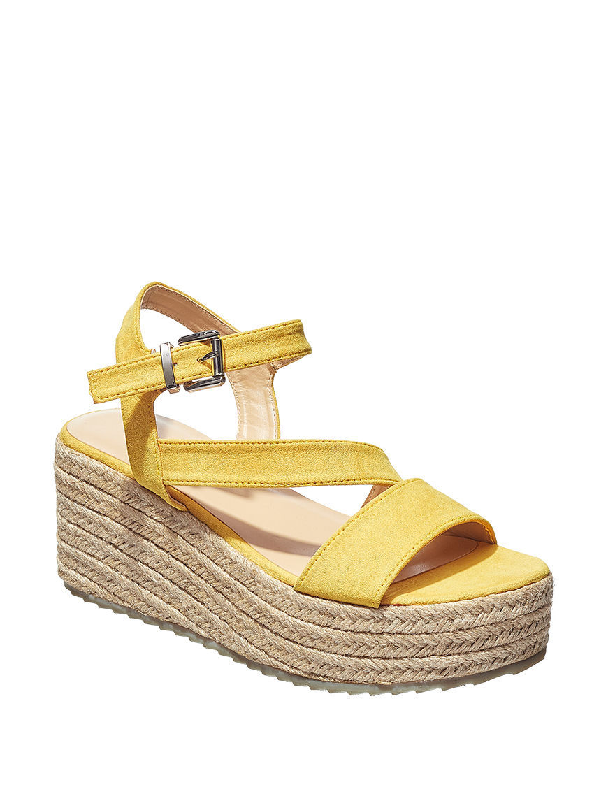 London Rag Mustard Espadrille Wedge Sandals