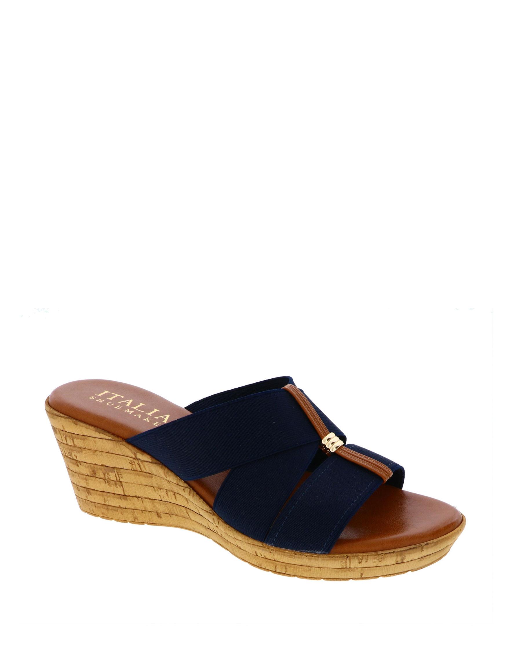 Italian Shoemakers Navy Wedge Sandals