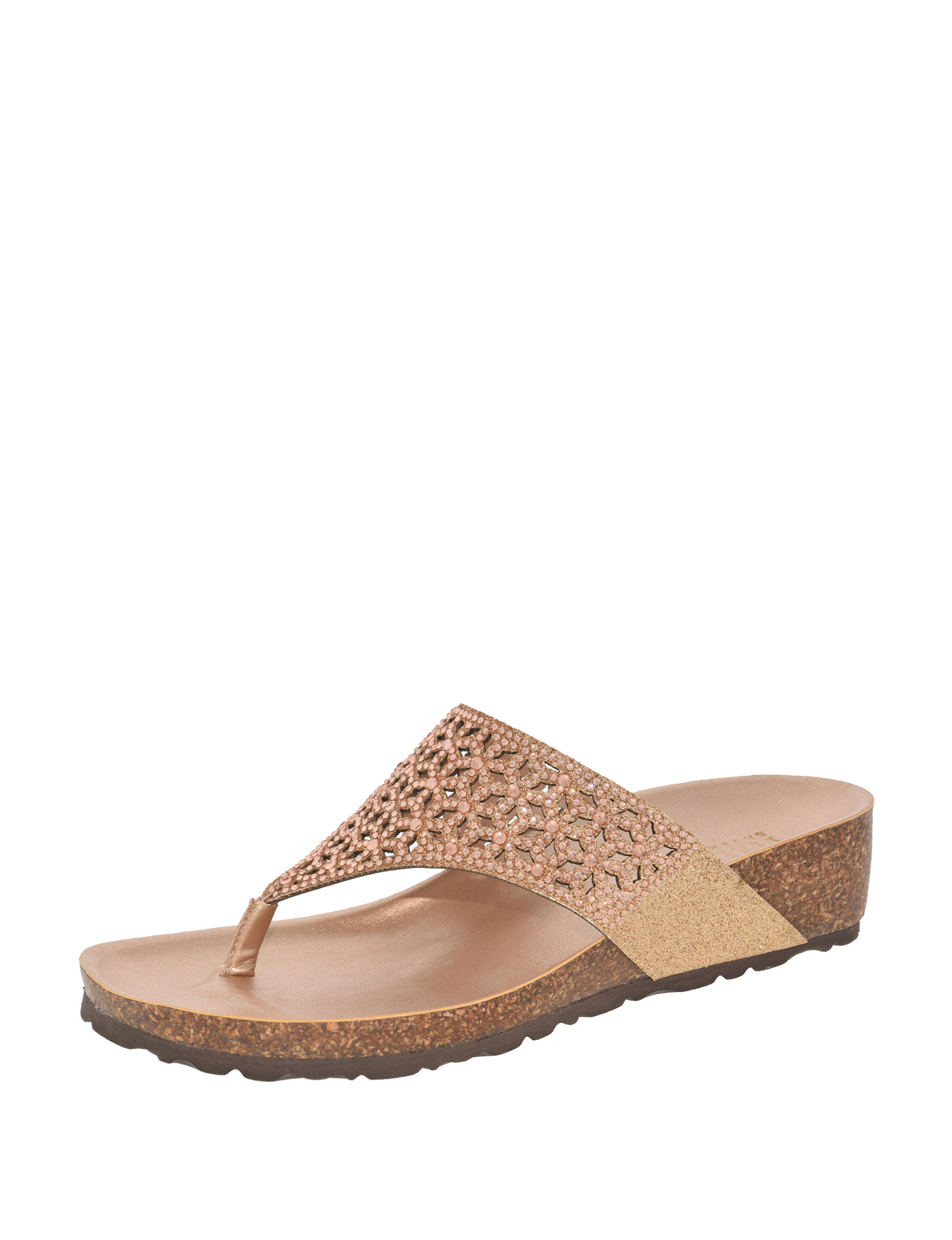 Italian Shoemakers Rose Gold Wedge Sandals