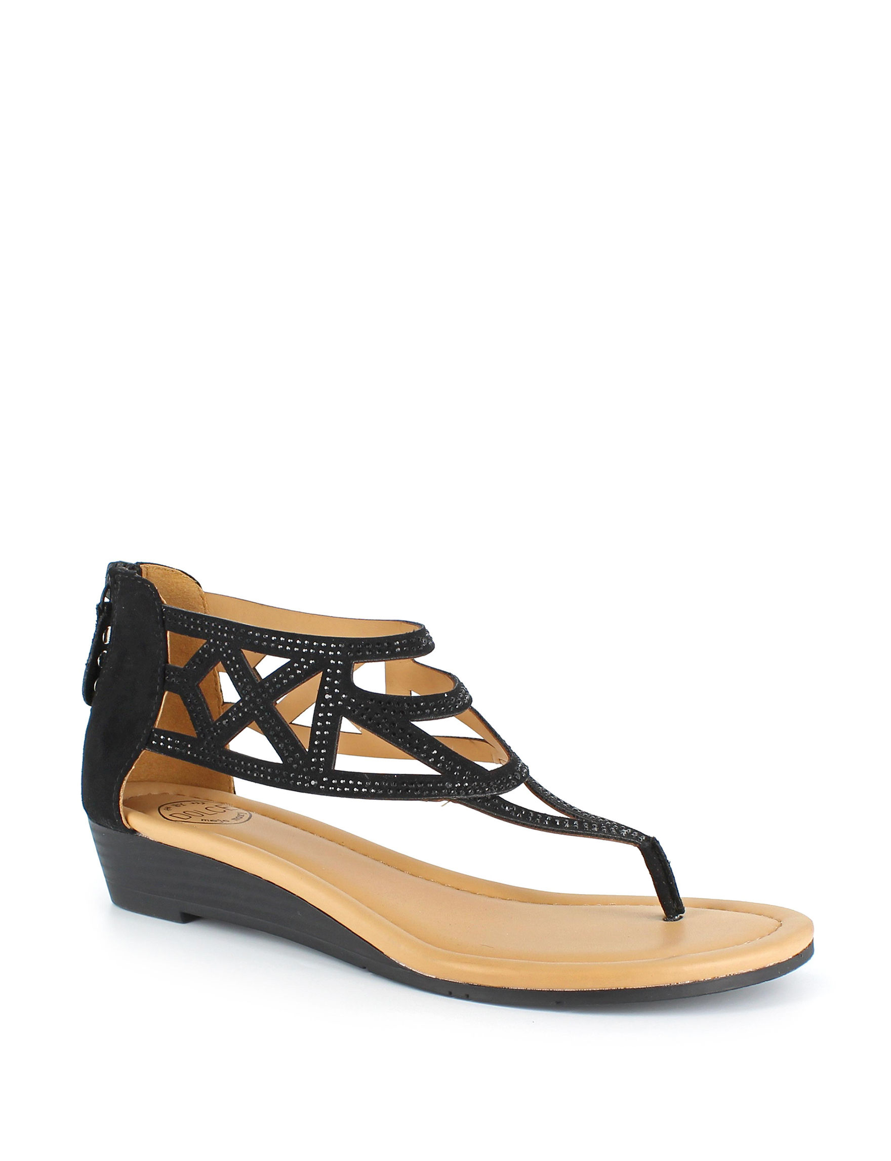 Dolce by Mojo Moxy Black Wedge Sandals