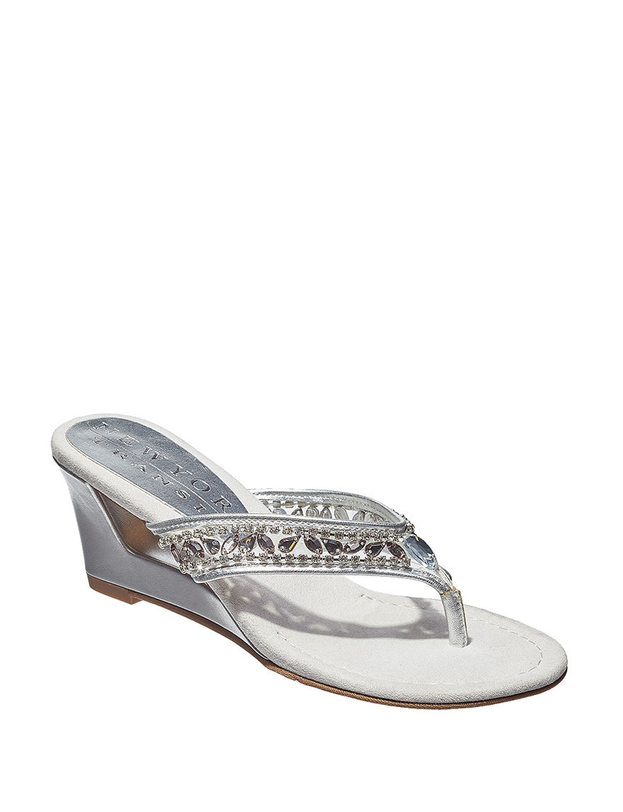 New York Transit Silver Wedge Sandals