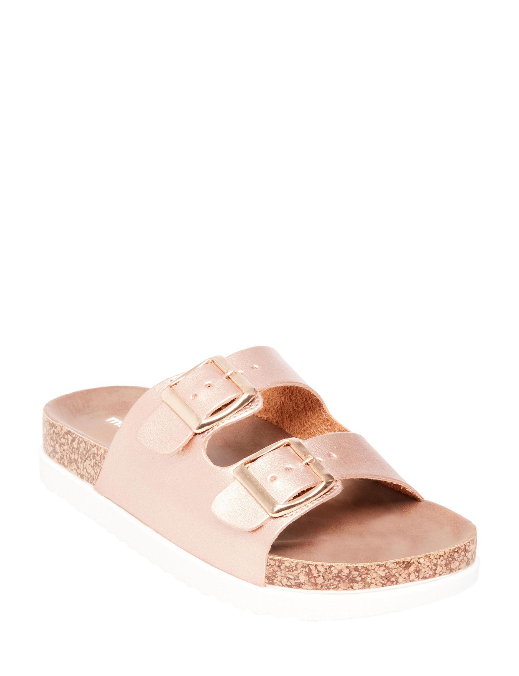 Madden Girl Rose Gold Flat Sandals Footbed