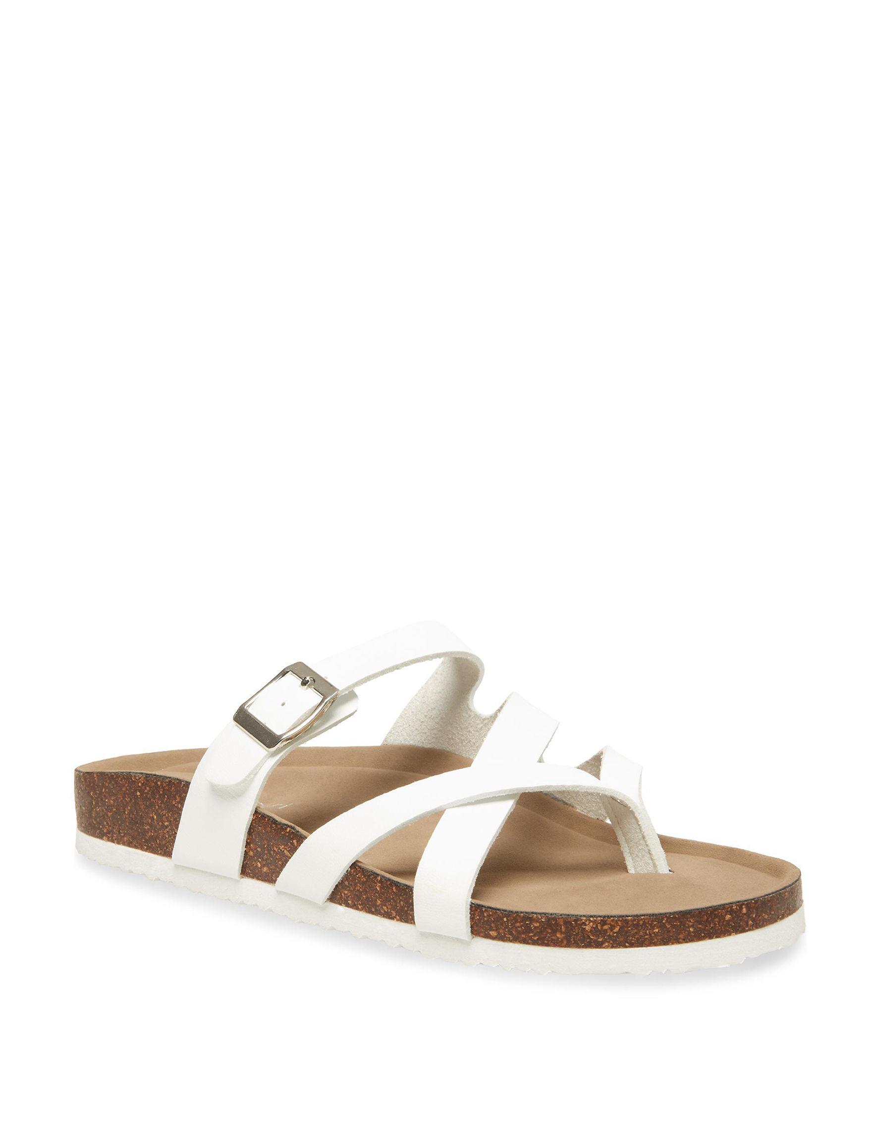 Madden Girl White Flat Sandals Footbed