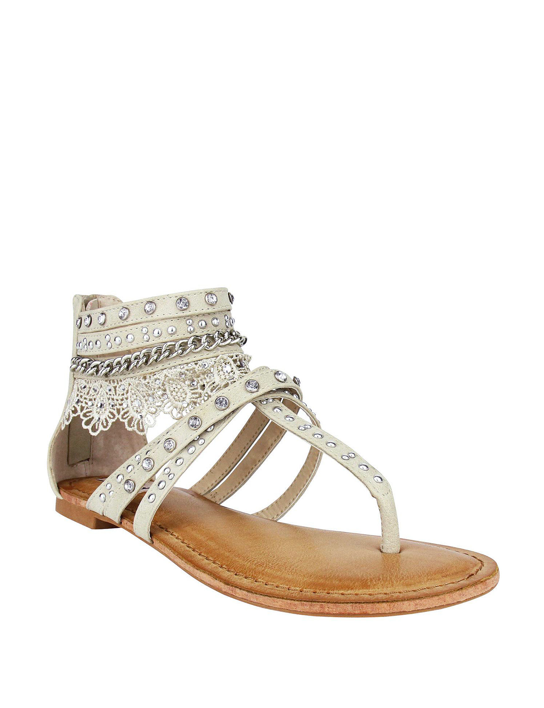 Not Rated Cream Flat Sandals