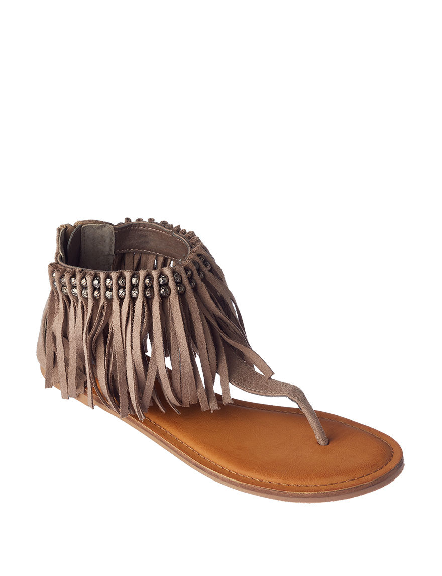 Not Rated Taupe Flat Sandals