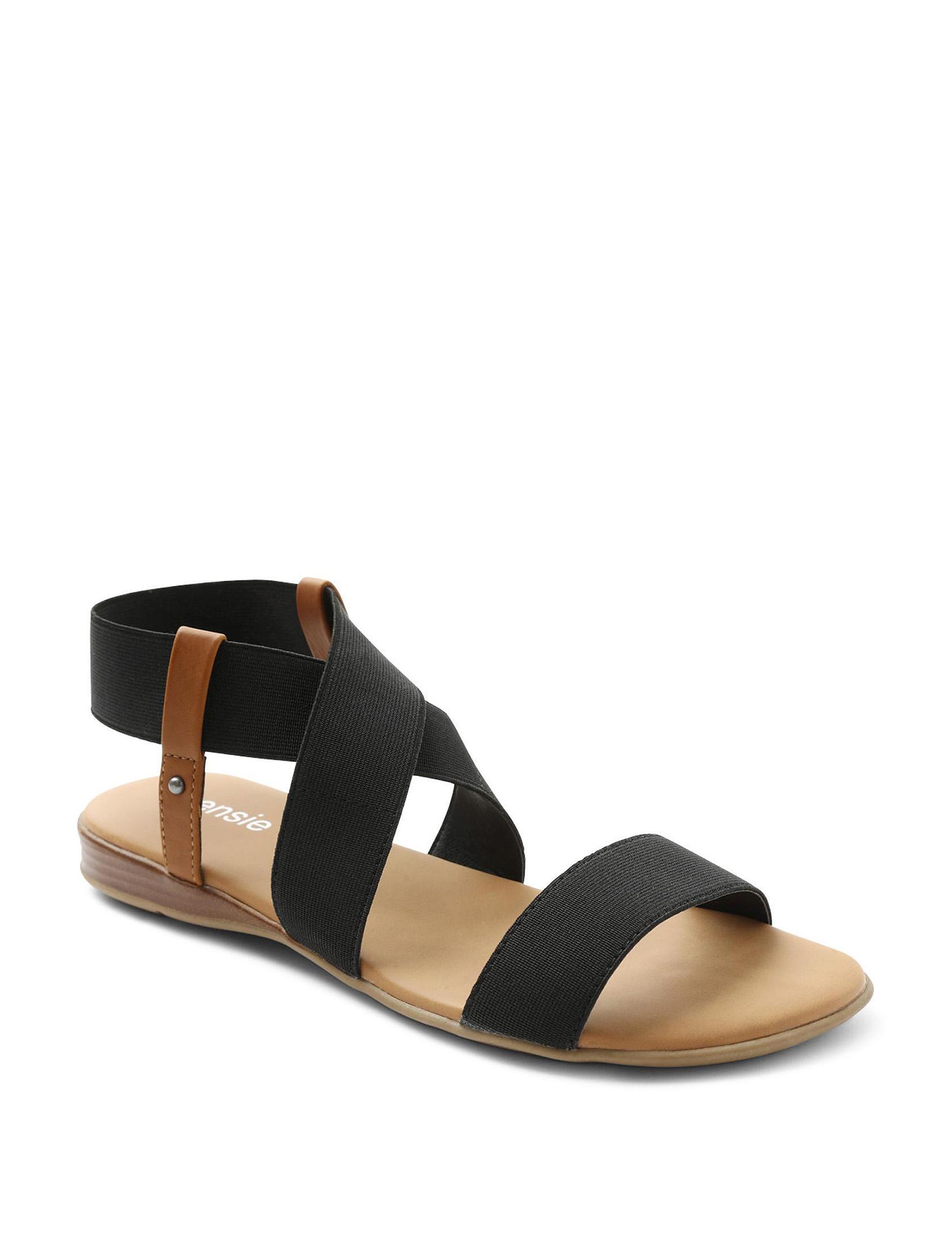 XOXO Black Flat Sandals