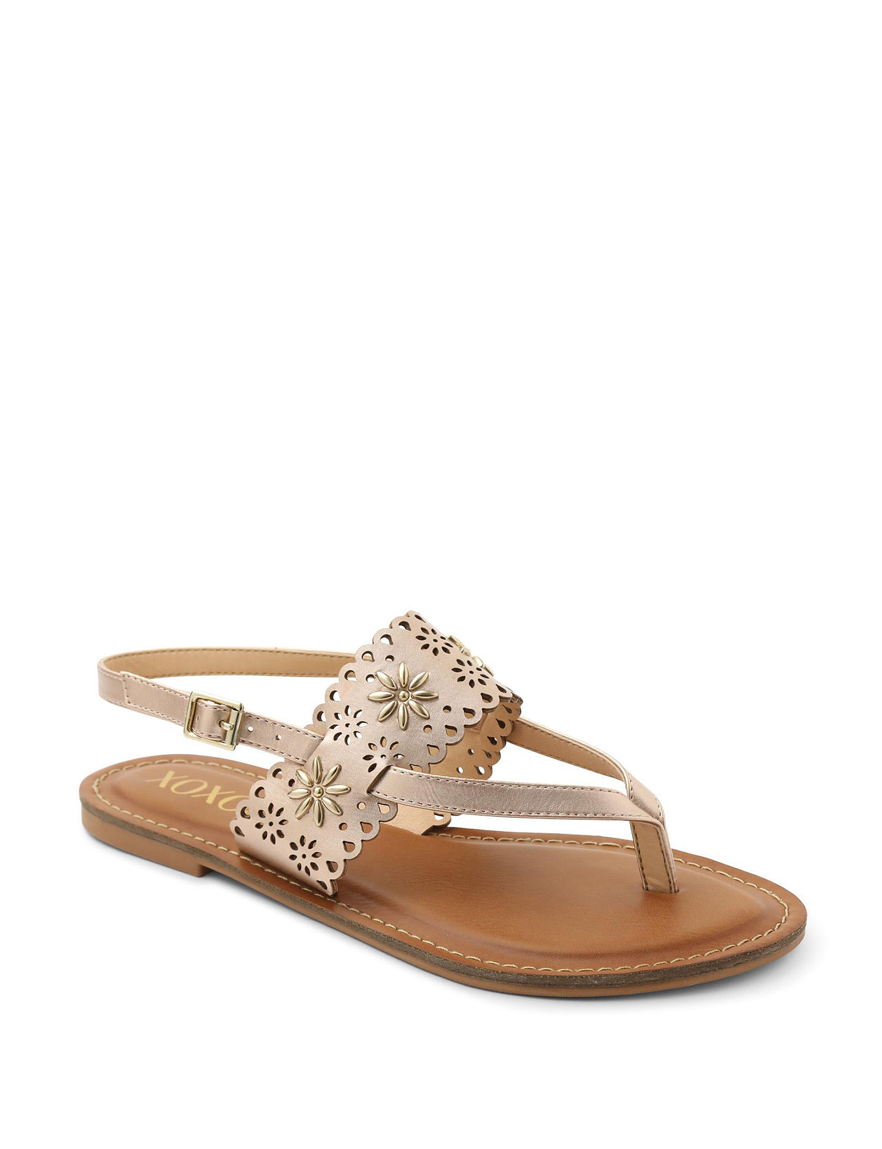 XOXO Rose Gold Flat Sandals