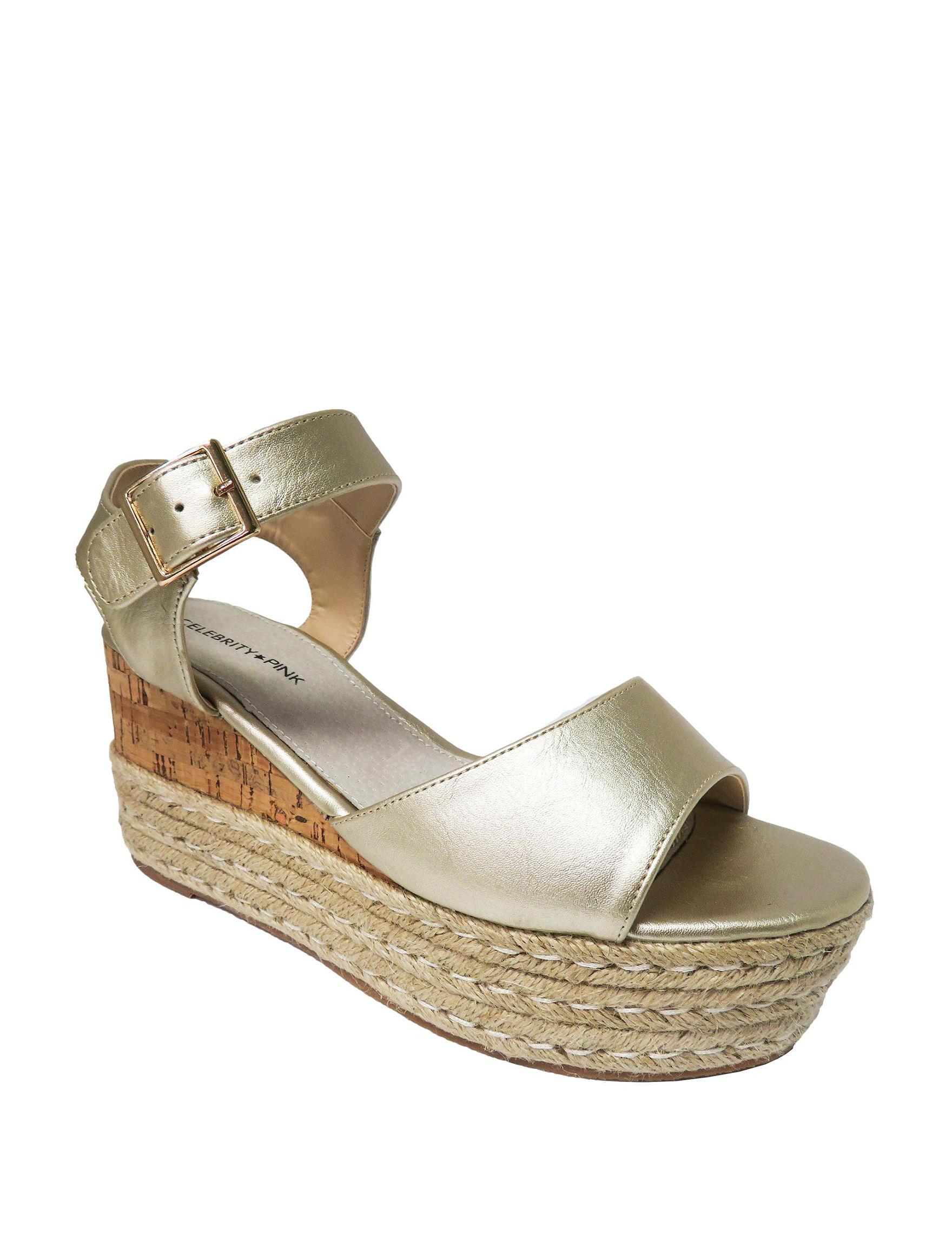 Celebrity Pink Gold Espadrille Wedge Sandals