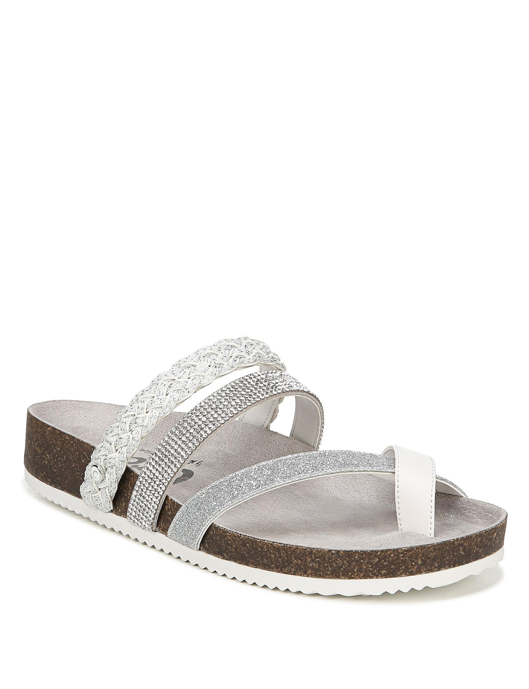 Circus By Sam Edelman White / Silver Flat Sandals Footbed