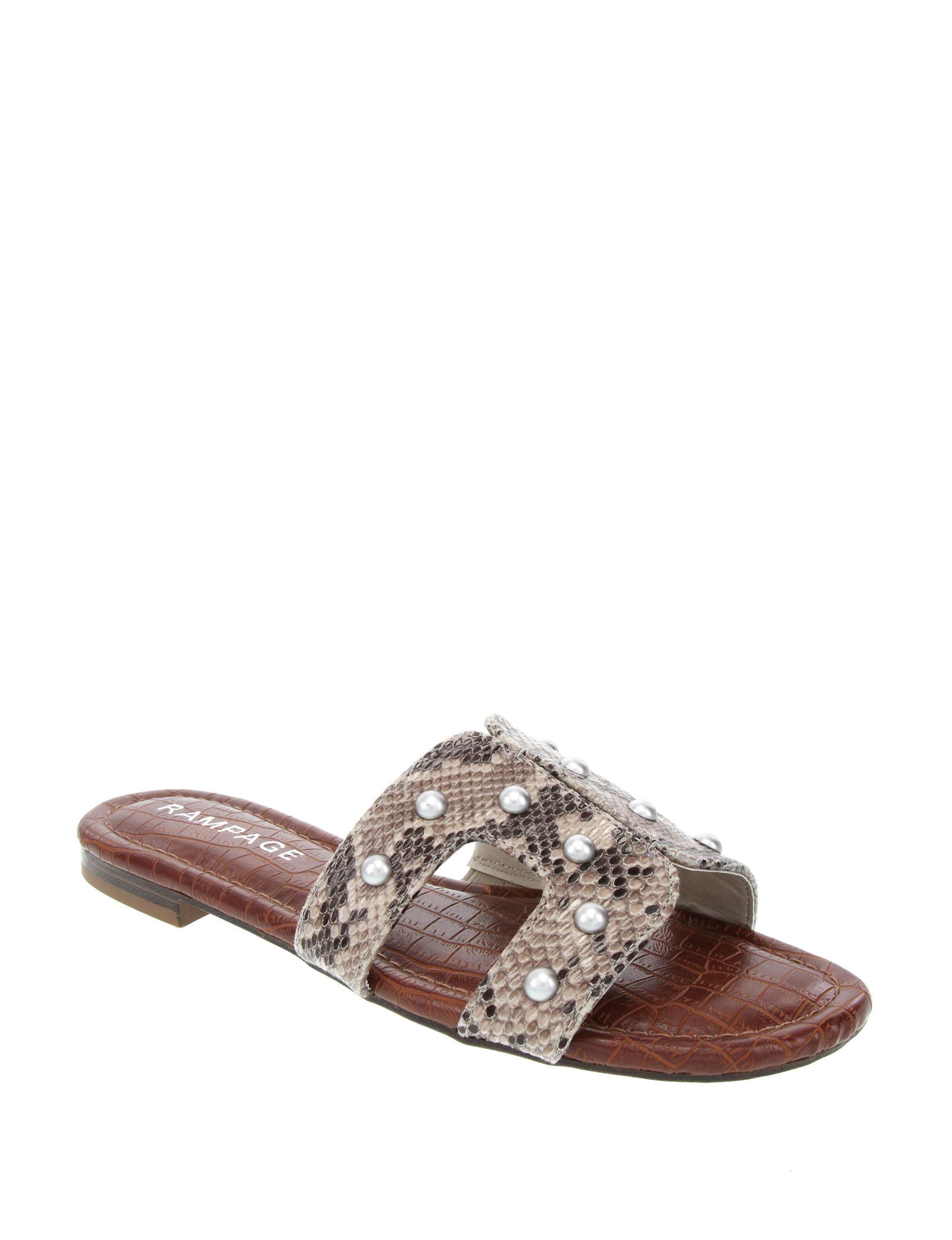 Rampage Black Snake Flat Sandals