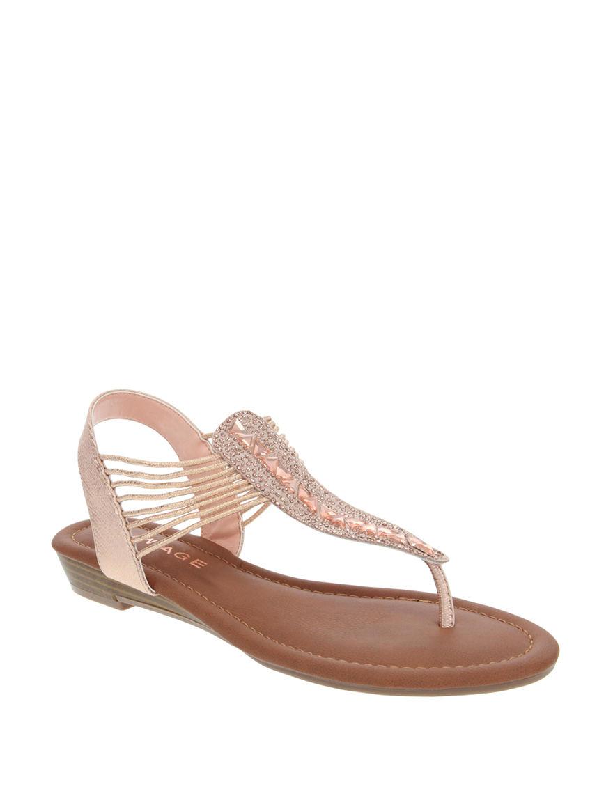 Rampage Rose Gold Flat Sandals