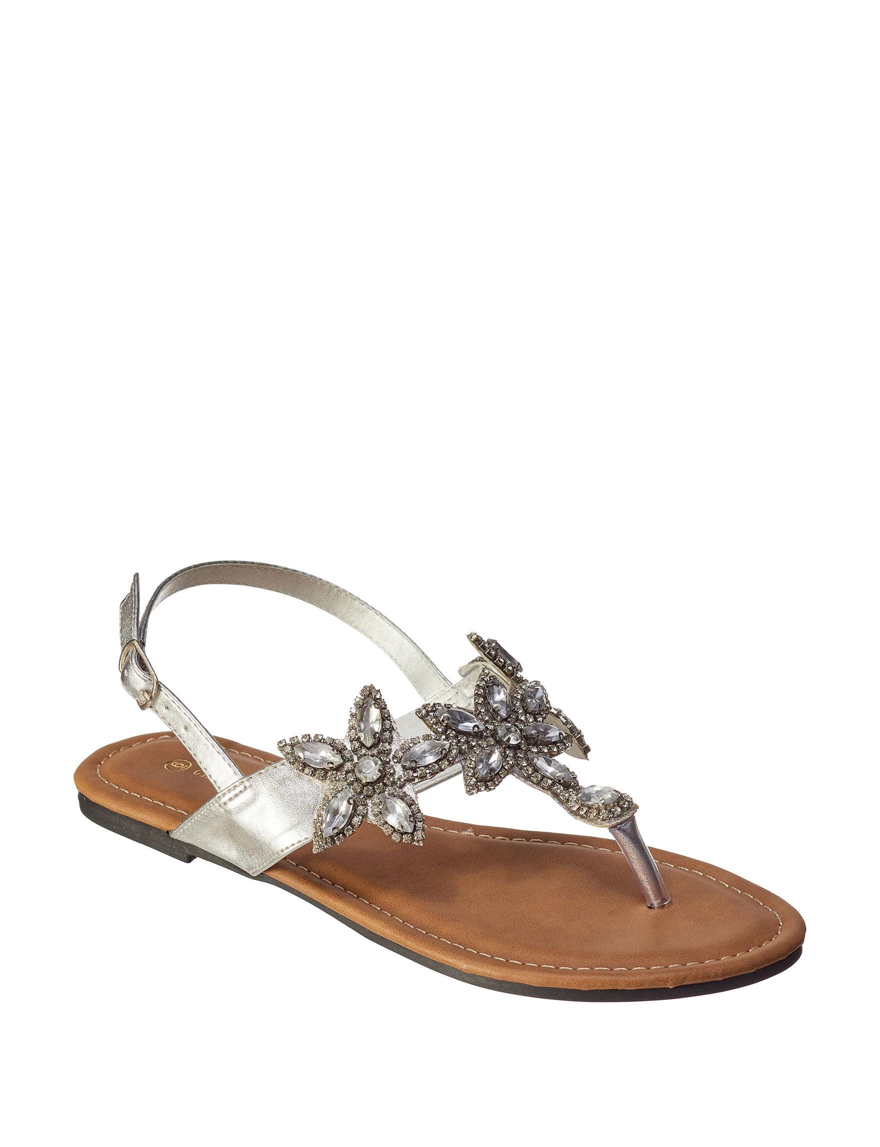 Charles Albert Silver Flat Sandals