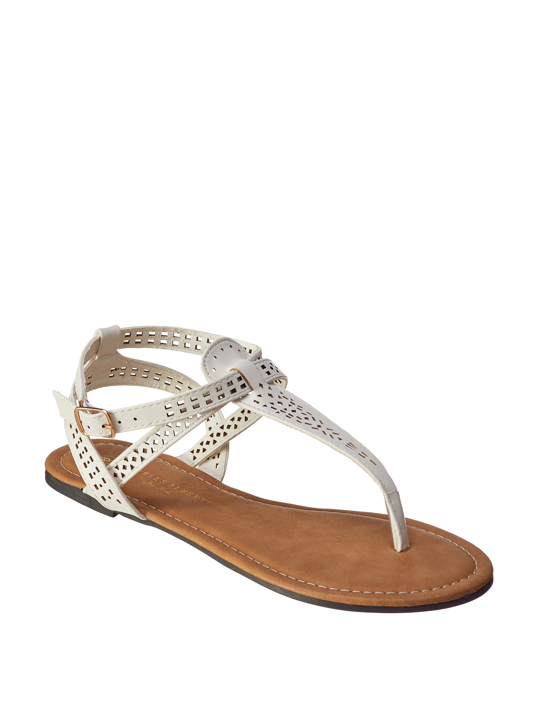 Charles Albert White Flat Sandals