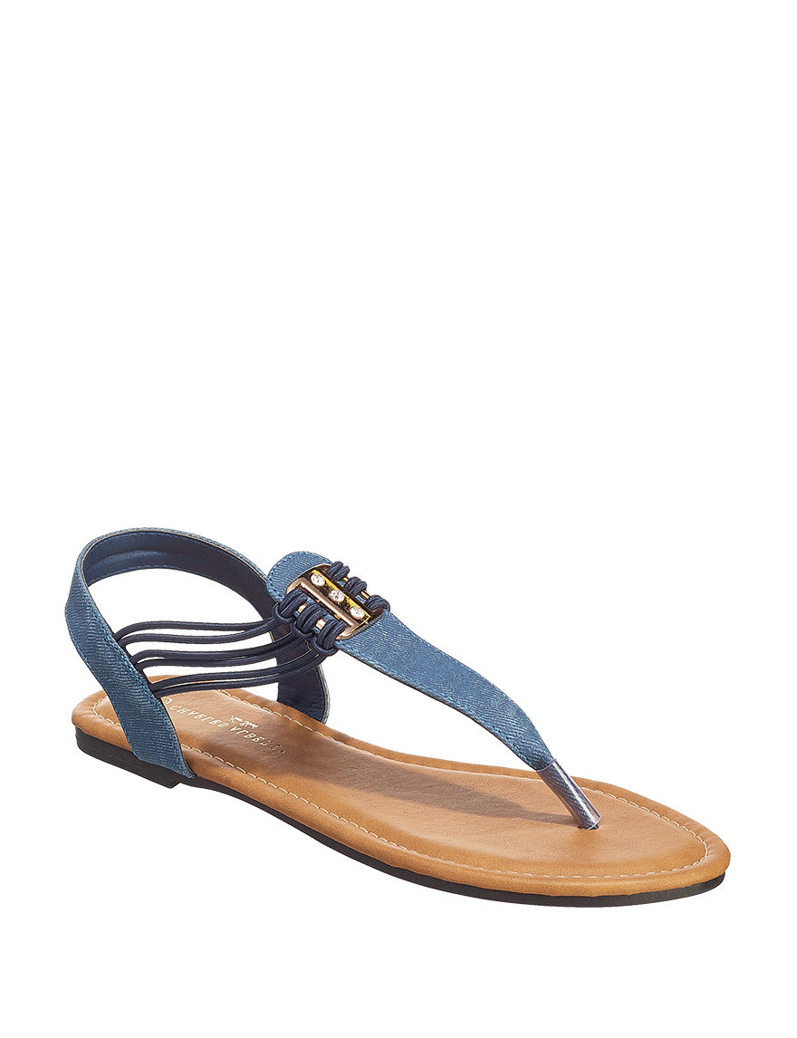 Charles Albert Denim Flat Sandals
