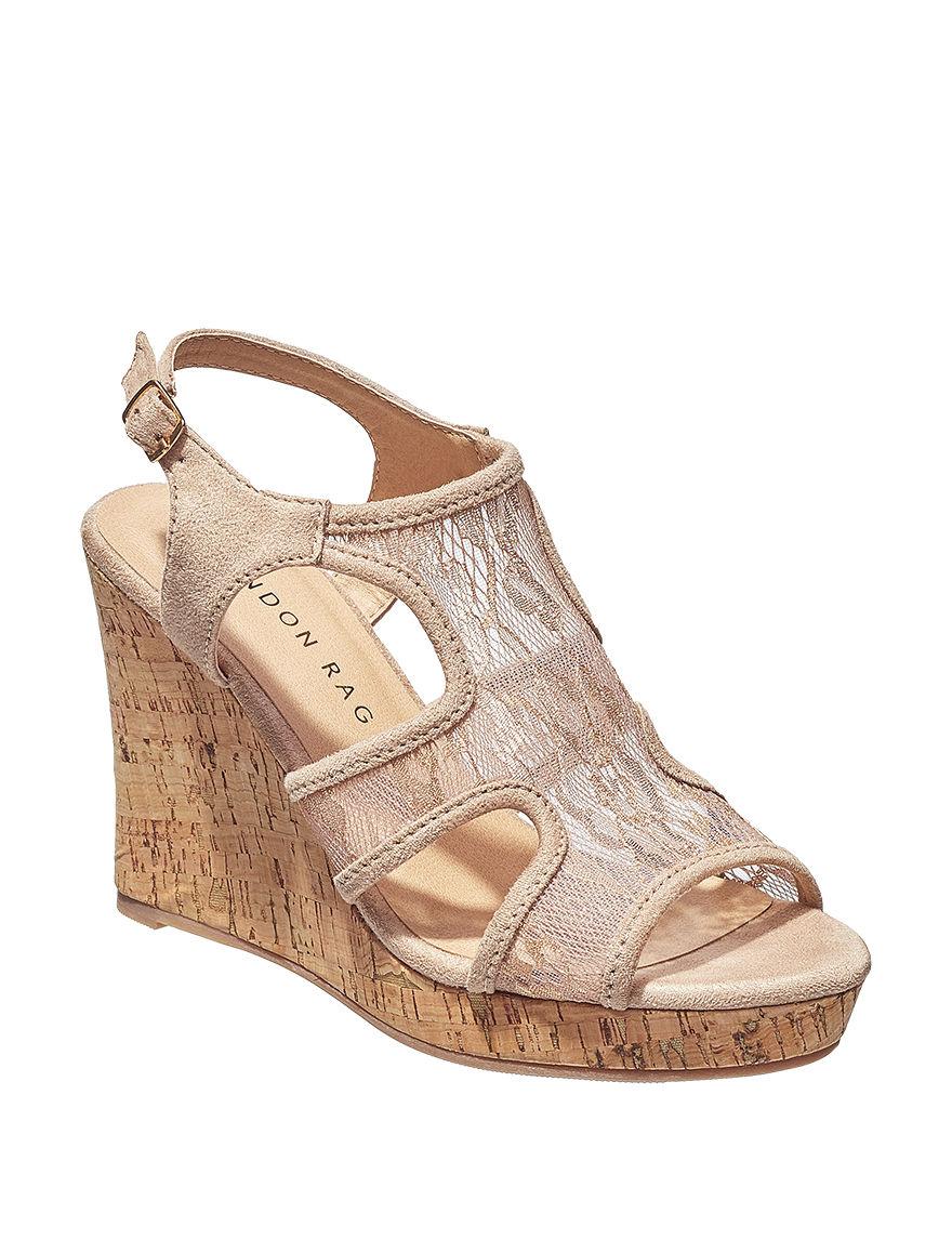 London Rag Beige Wedge Sandals