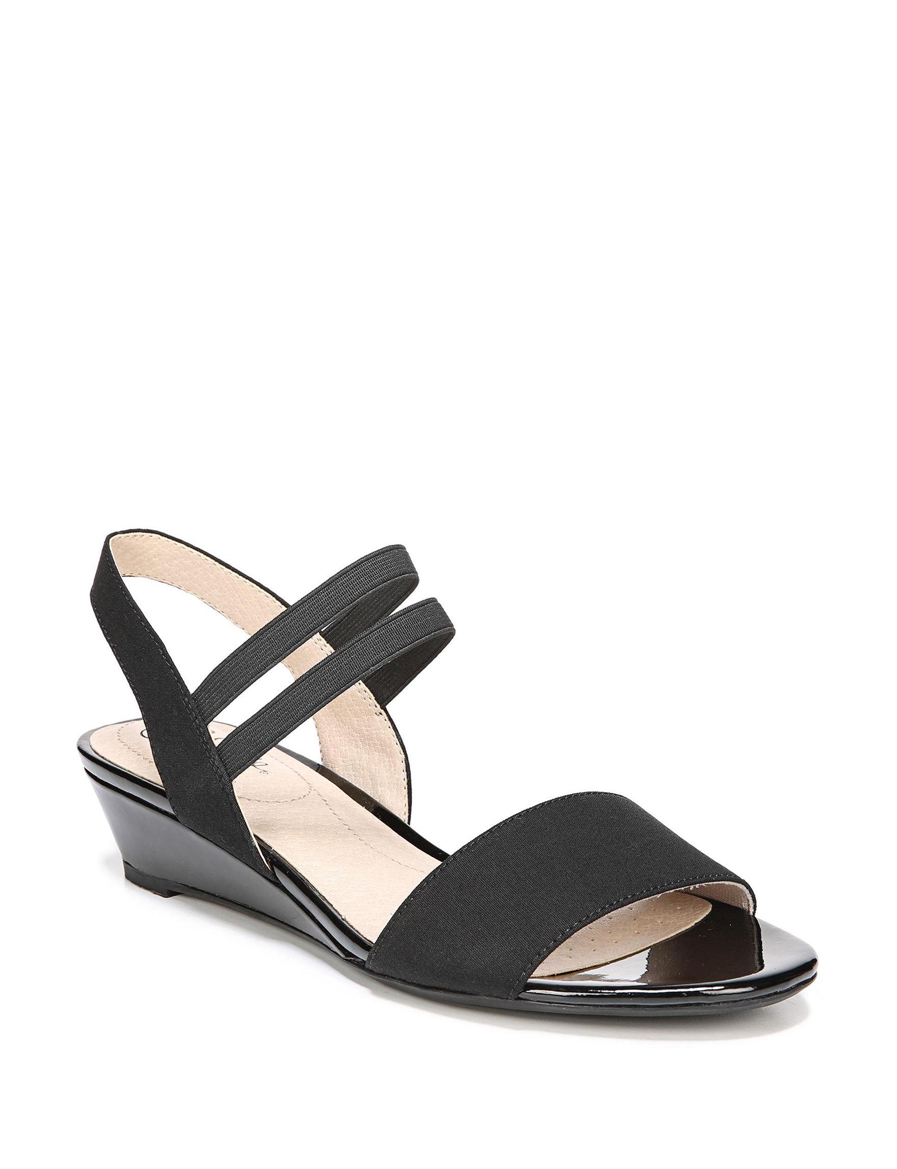 Lifestride Black Wedge Sandals