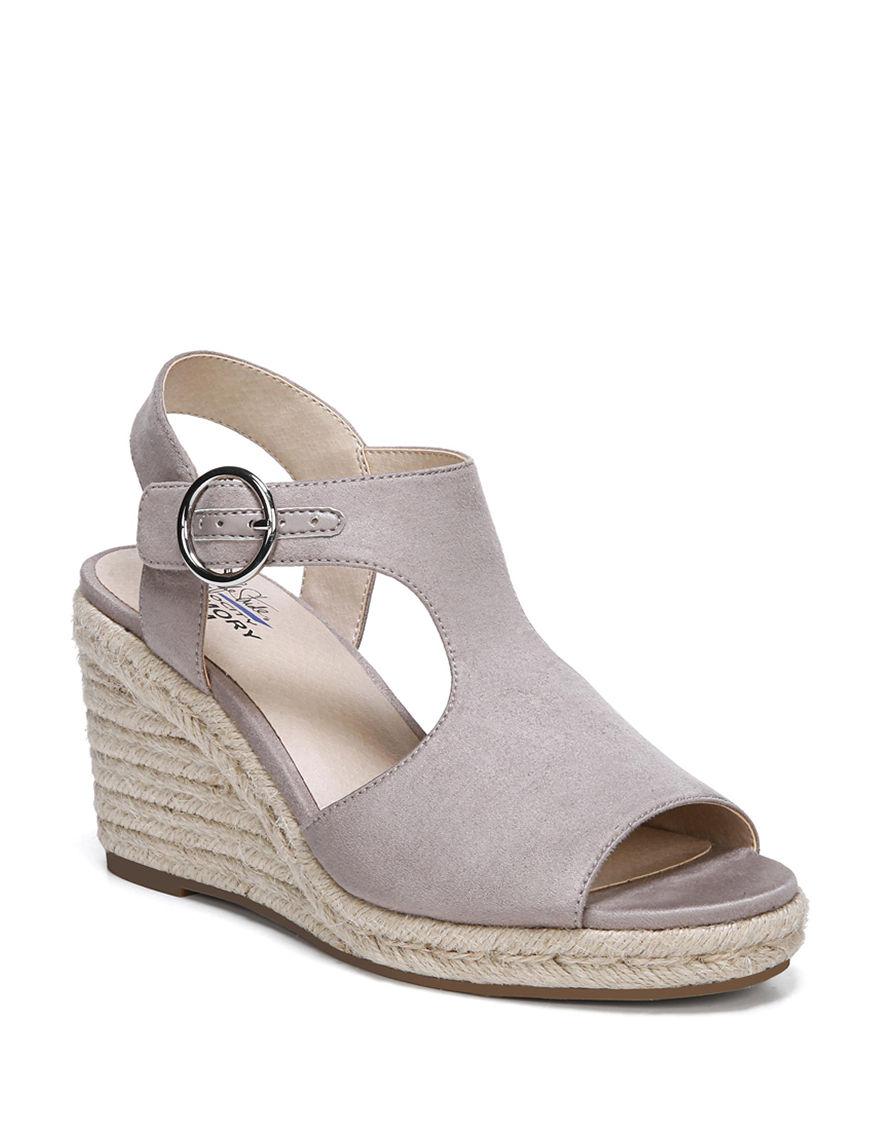 Lifestride Grey Espadrille Wedge Sandals