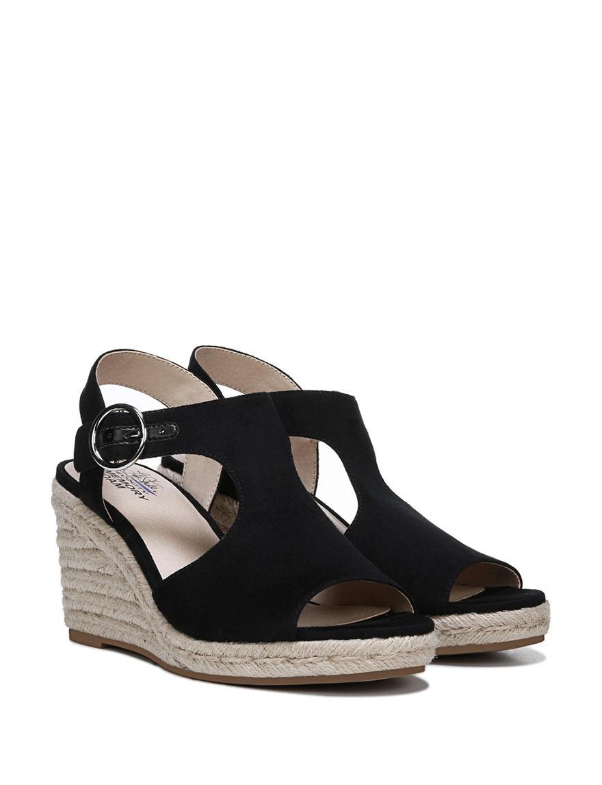 Lifestride Black Espadrille Wedge Sandals