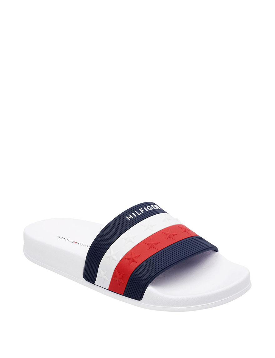 Tommy Hilfiger White / Multi Flat Sandals Slide Sandals