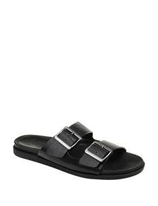 Journee Collection Black Footbed Slide Sandals