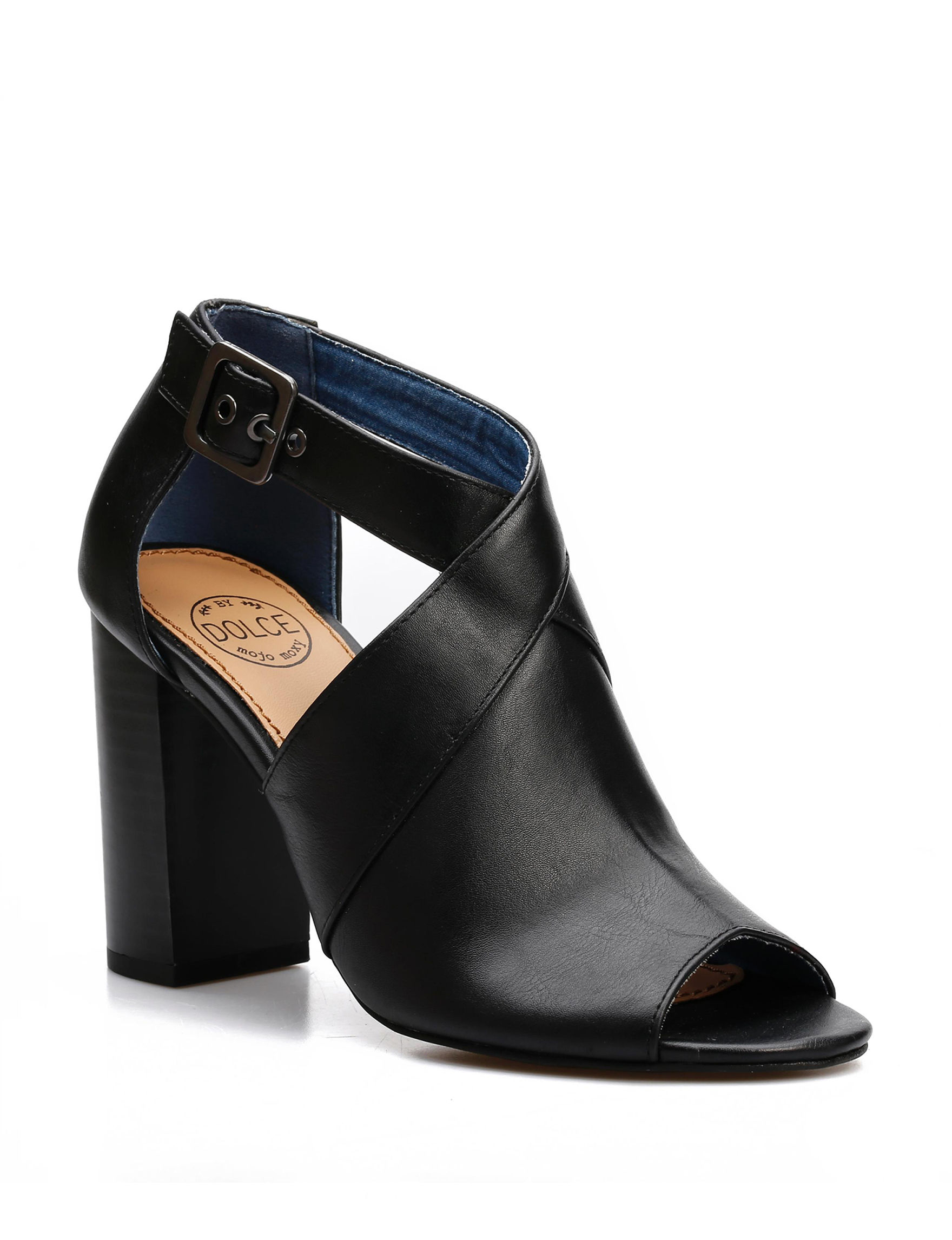 Dolce by Mojo Moxy Black Heeled Sandals Peep Toe