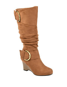 94cc09598b70 Journee Collection Chestnut Riding Boots Wedge Boots Wide Calf