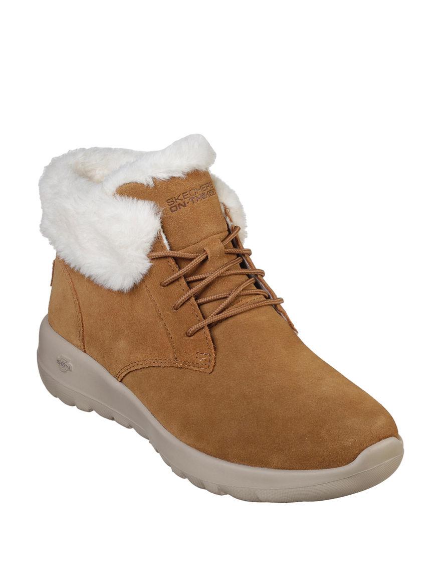 Skechers Beige Ankle Boots & Booties Comfort Shoes Winter Boots