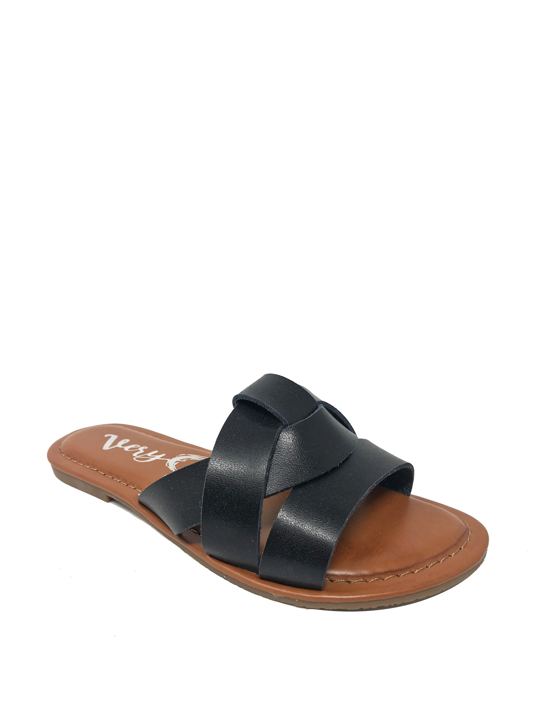 Very G Black Flat Sandals