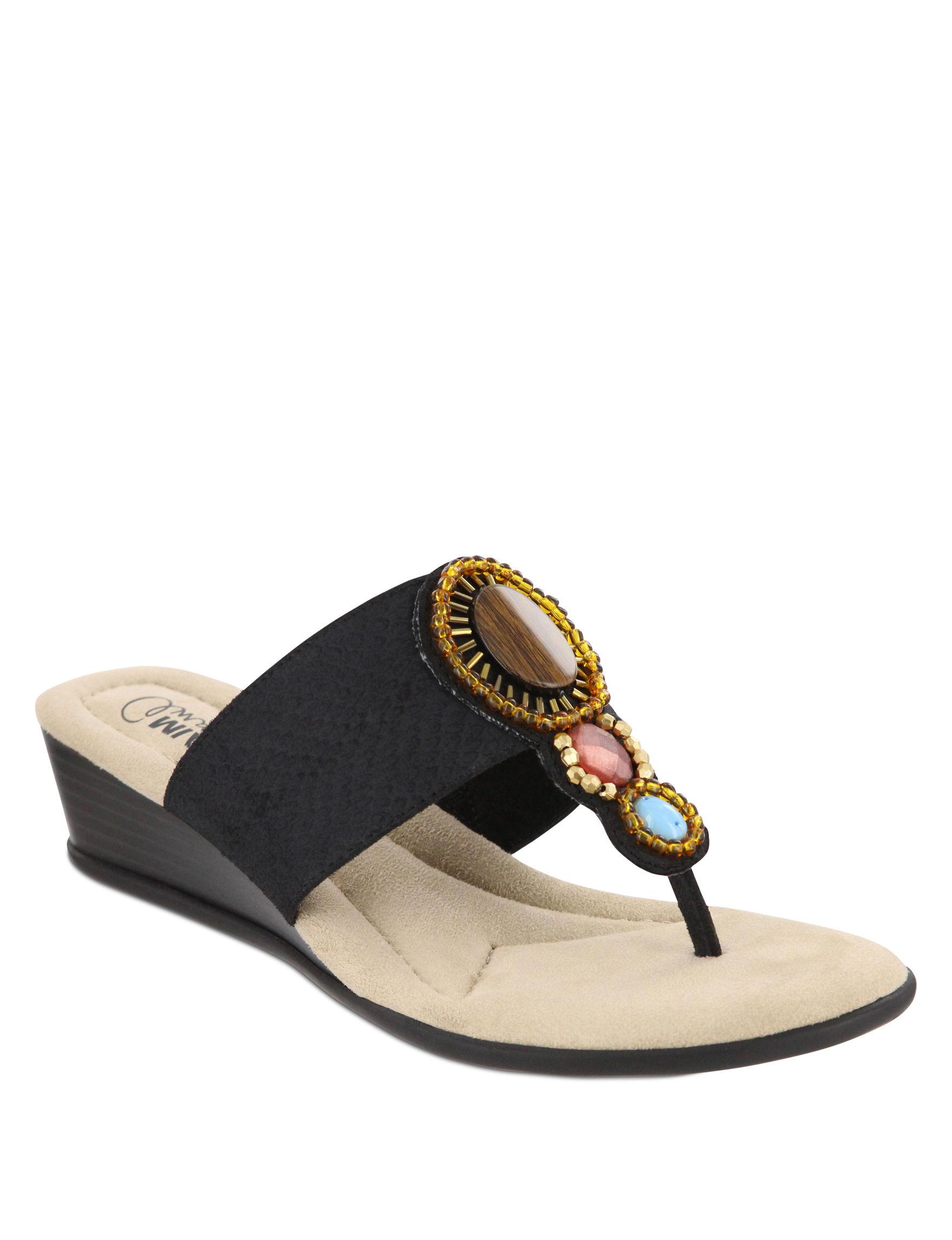 MIA Black Wedge Sandals
