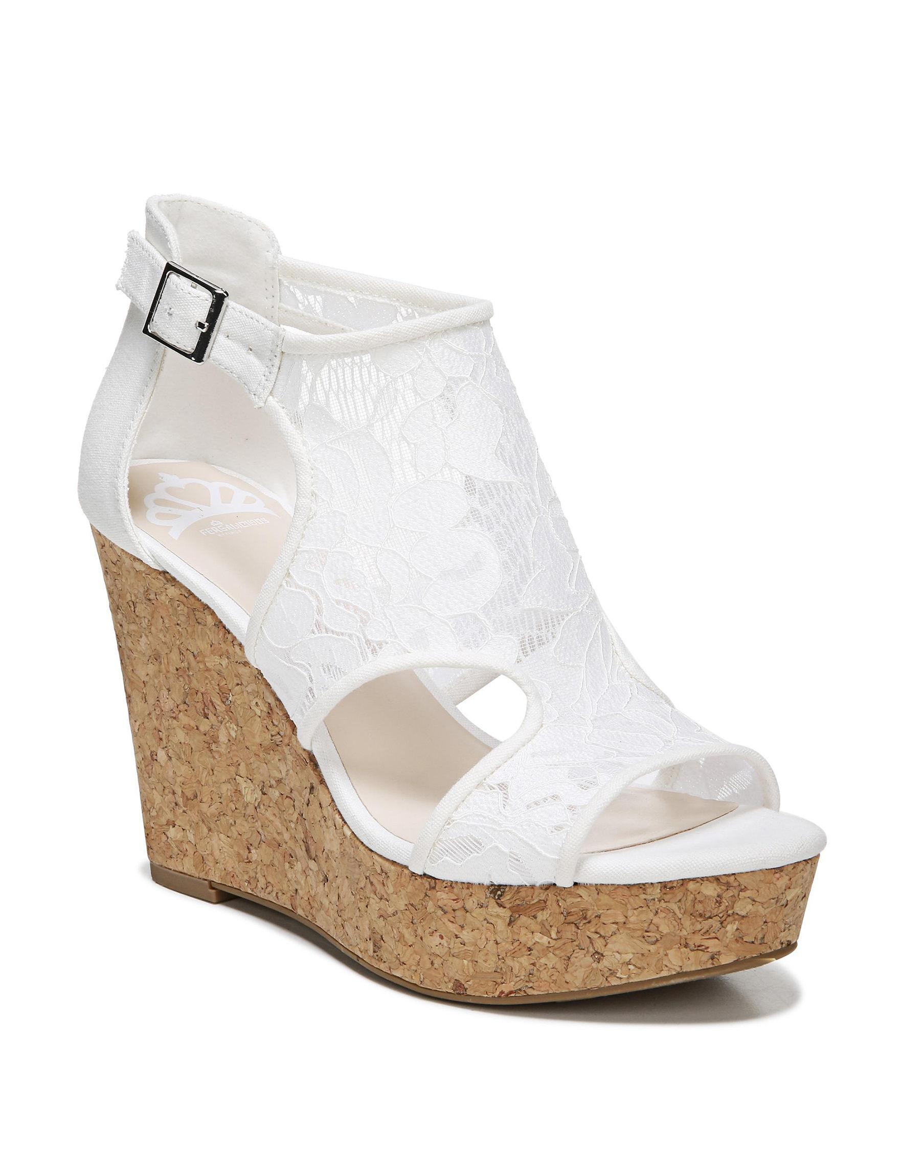 Fergalicious by Fergie White Peep Toe Platform Wedge Sandals