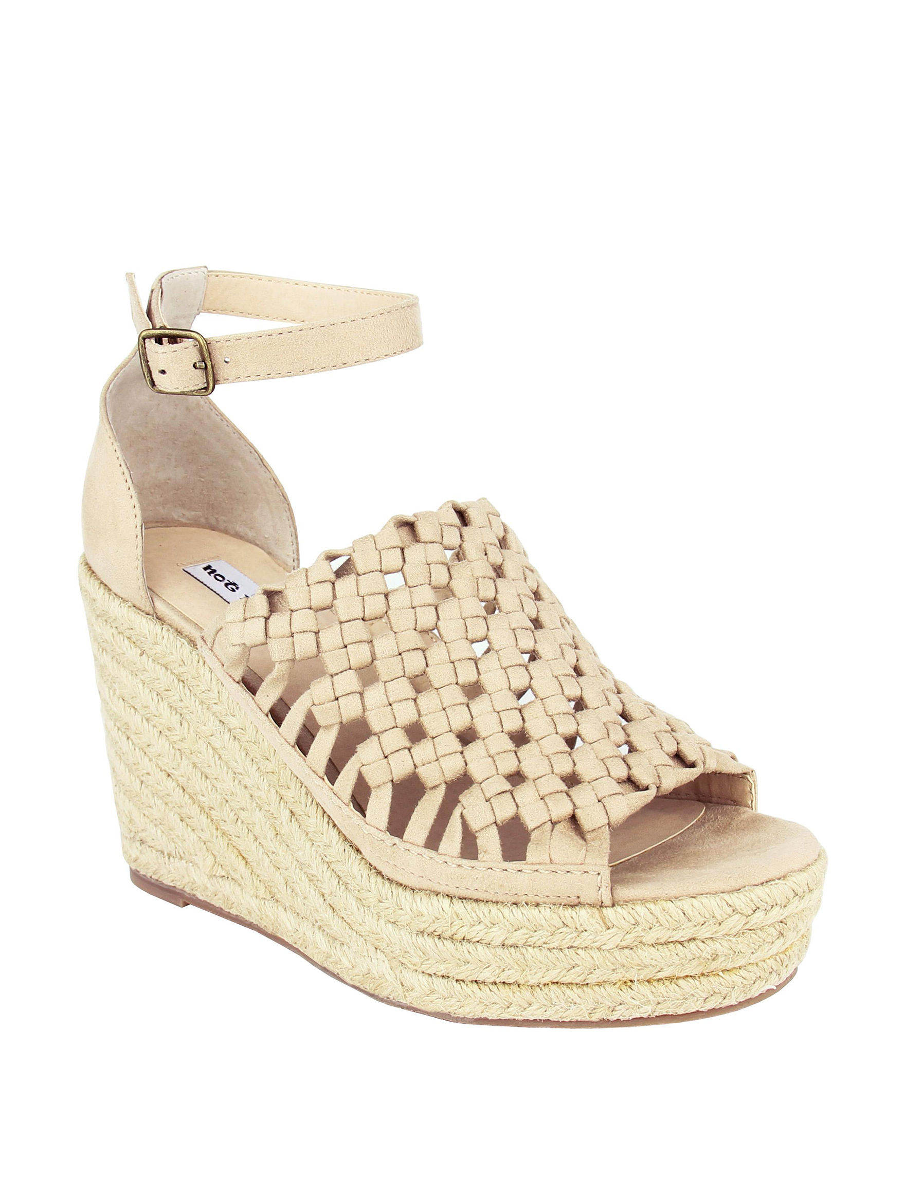 Not Rated Nude Peep Toe Platform Wedge Sandals