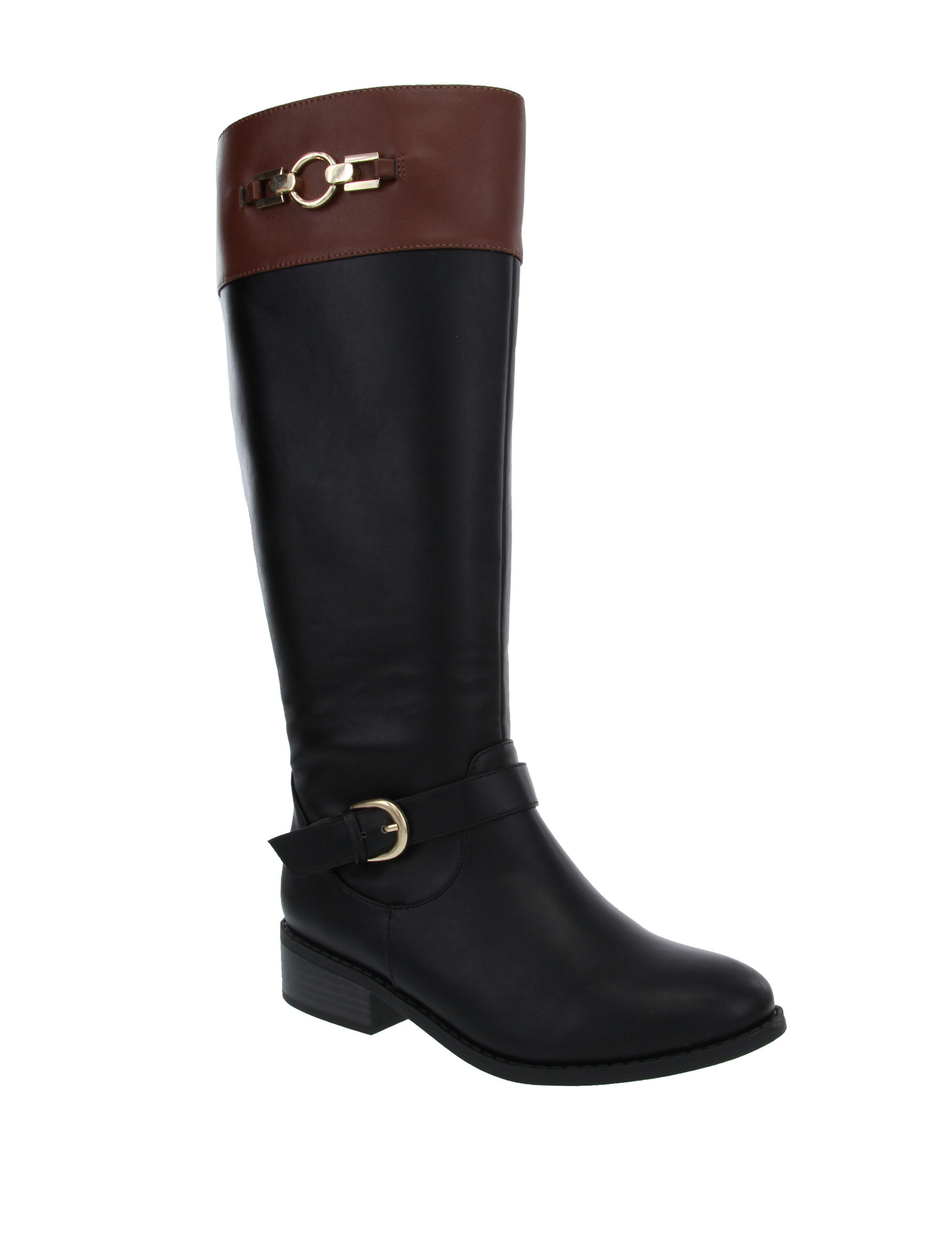 London Fog Black Riding Boots Wide Calf