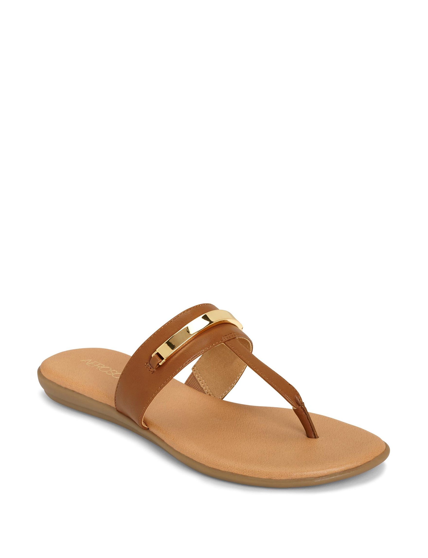 Aerosoles Dark Tan Flat Sandals Flip Flops