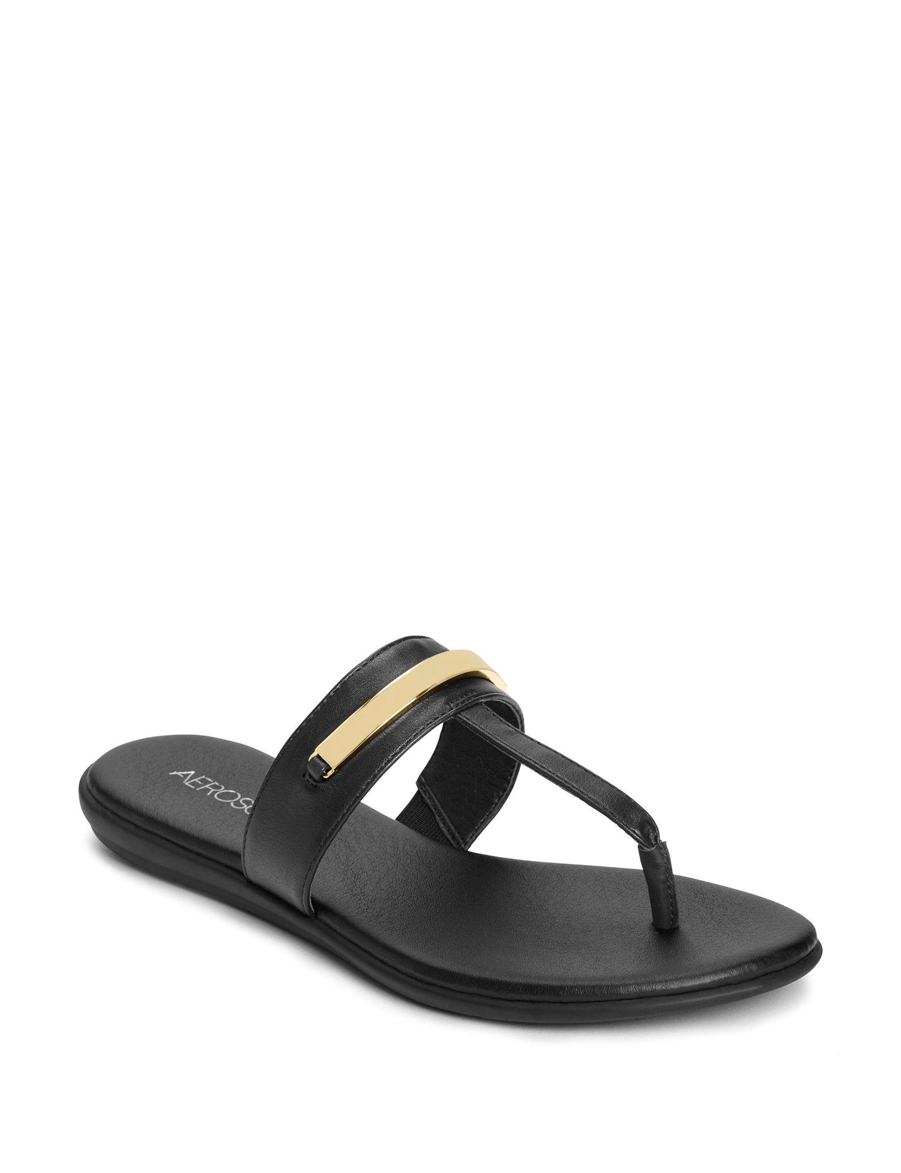 Aerosoles Black Flat Sandals Flip Flops