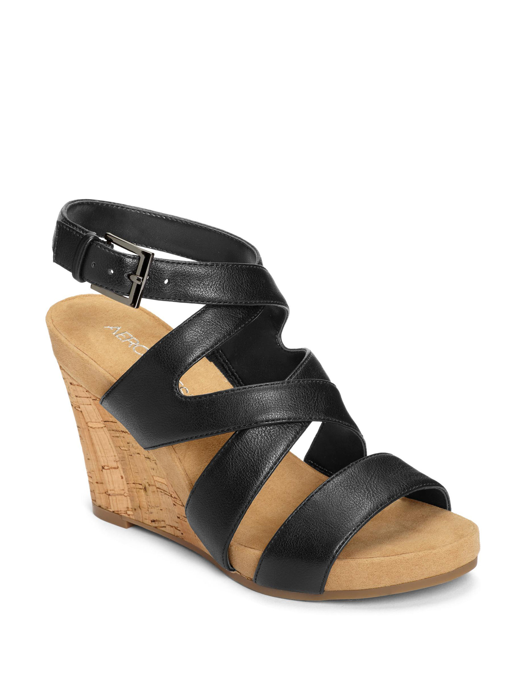 28e683fd03 Aerosoles Women's Silver Plush Cork Wedge Sandals | Stage Stores