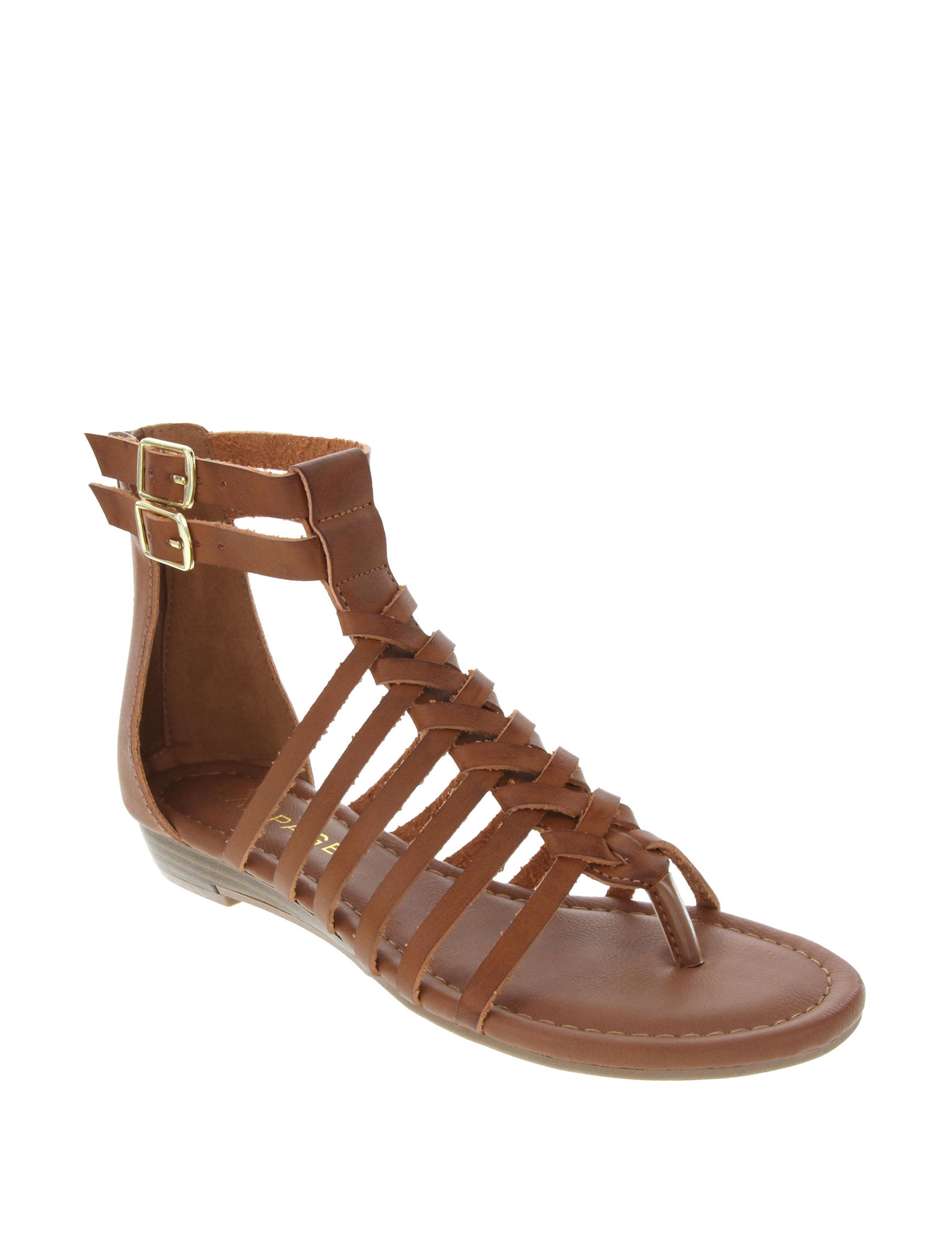 Rampage Cognac Flat Sandals Gladiators
