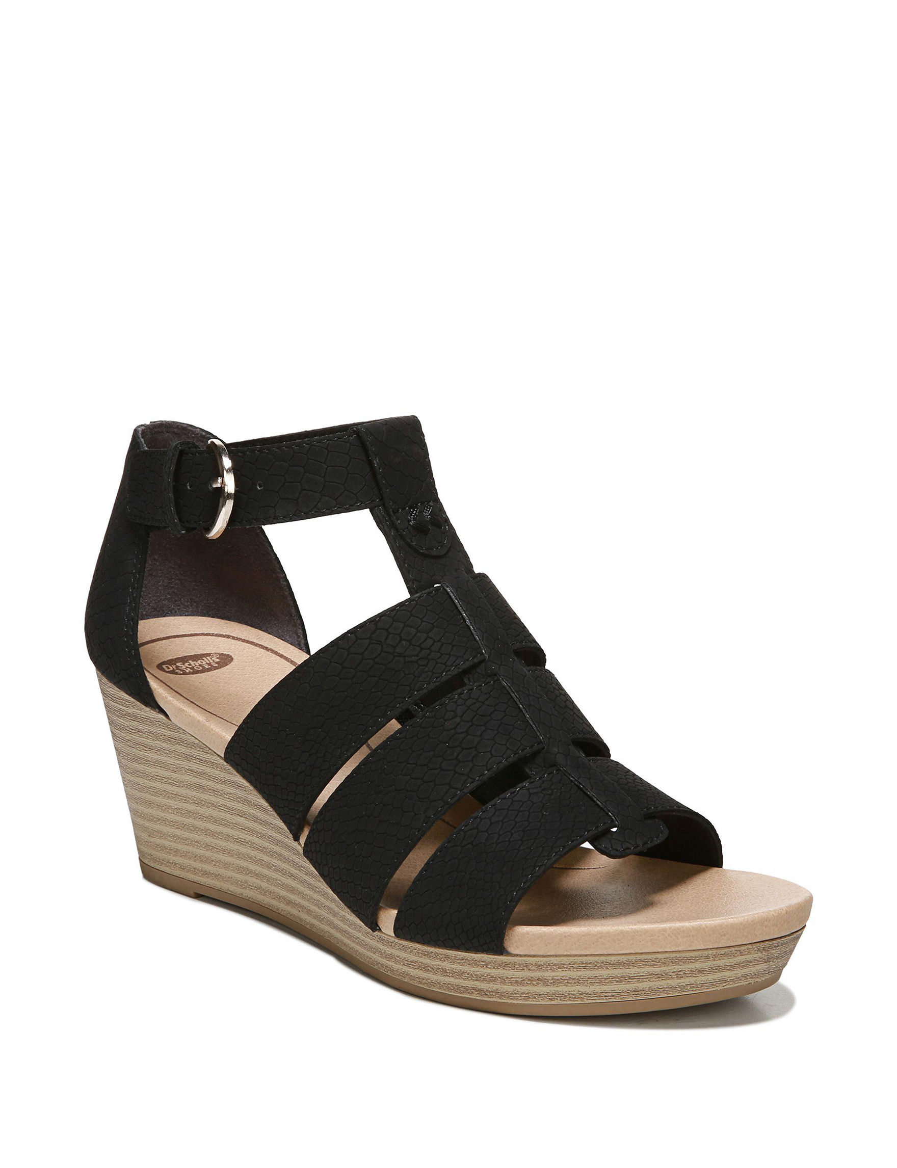 Dr. Scholl's Black Comfort Shoes Wedge Sandals