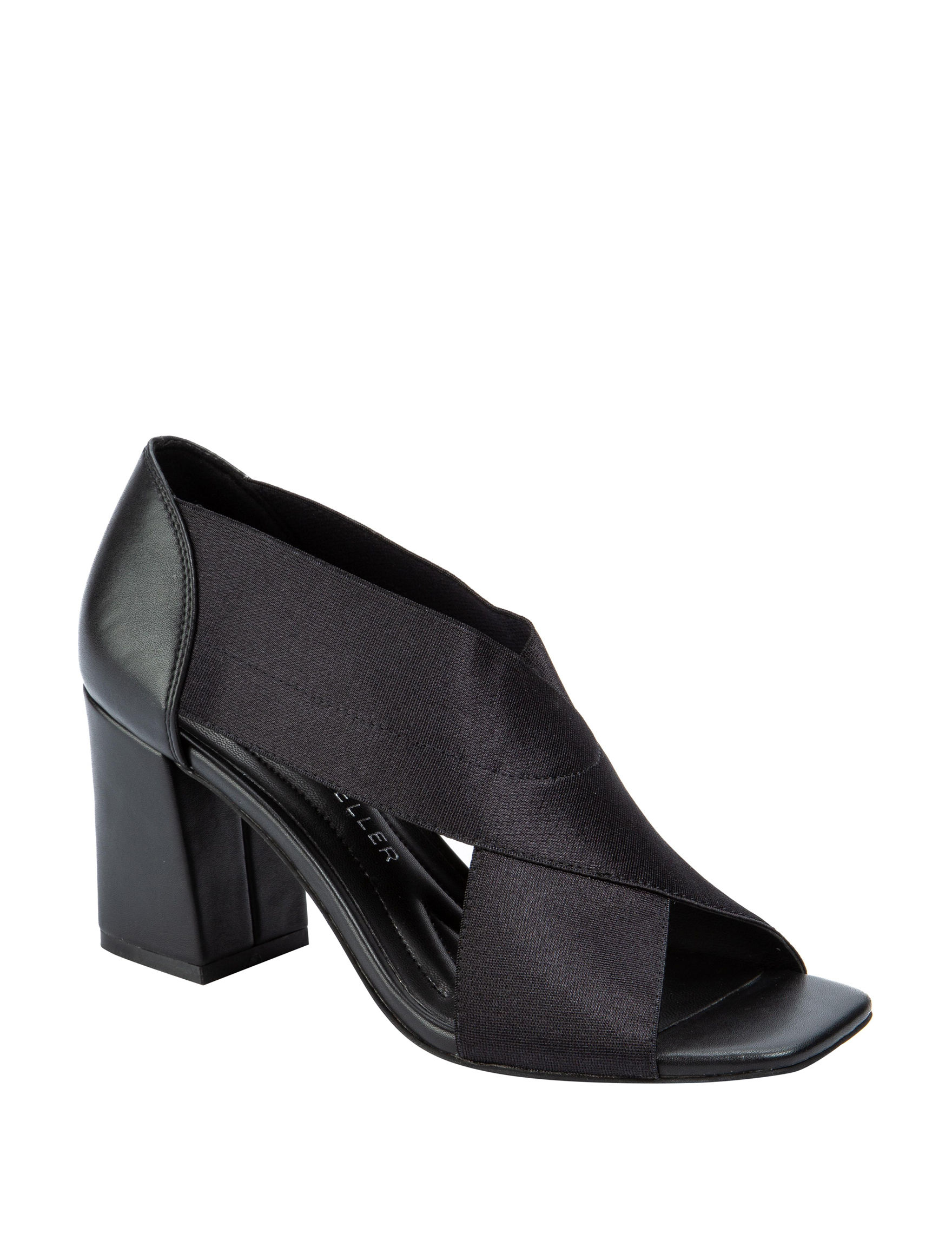 Andrew Geller Black Heeled Sandals Peep Toe