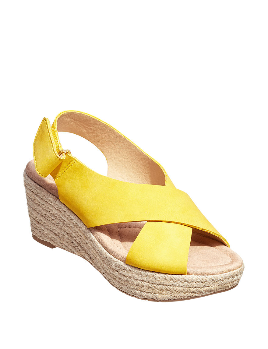 CL by Laundry Mustard Espadrille Wedge Sandals