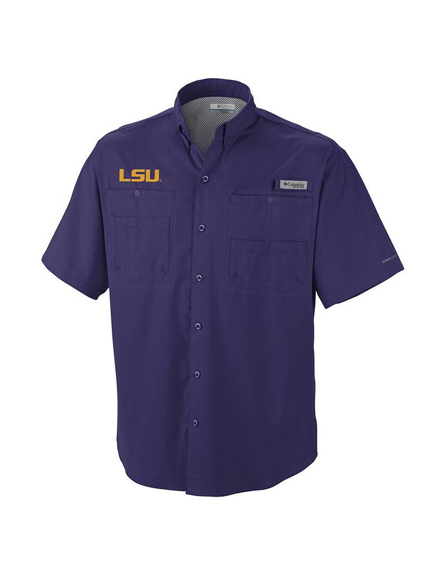 NCAA Purple Casual Button Down Shirts