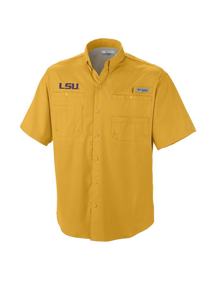NCAA Yellow Casual Button Down Shirts