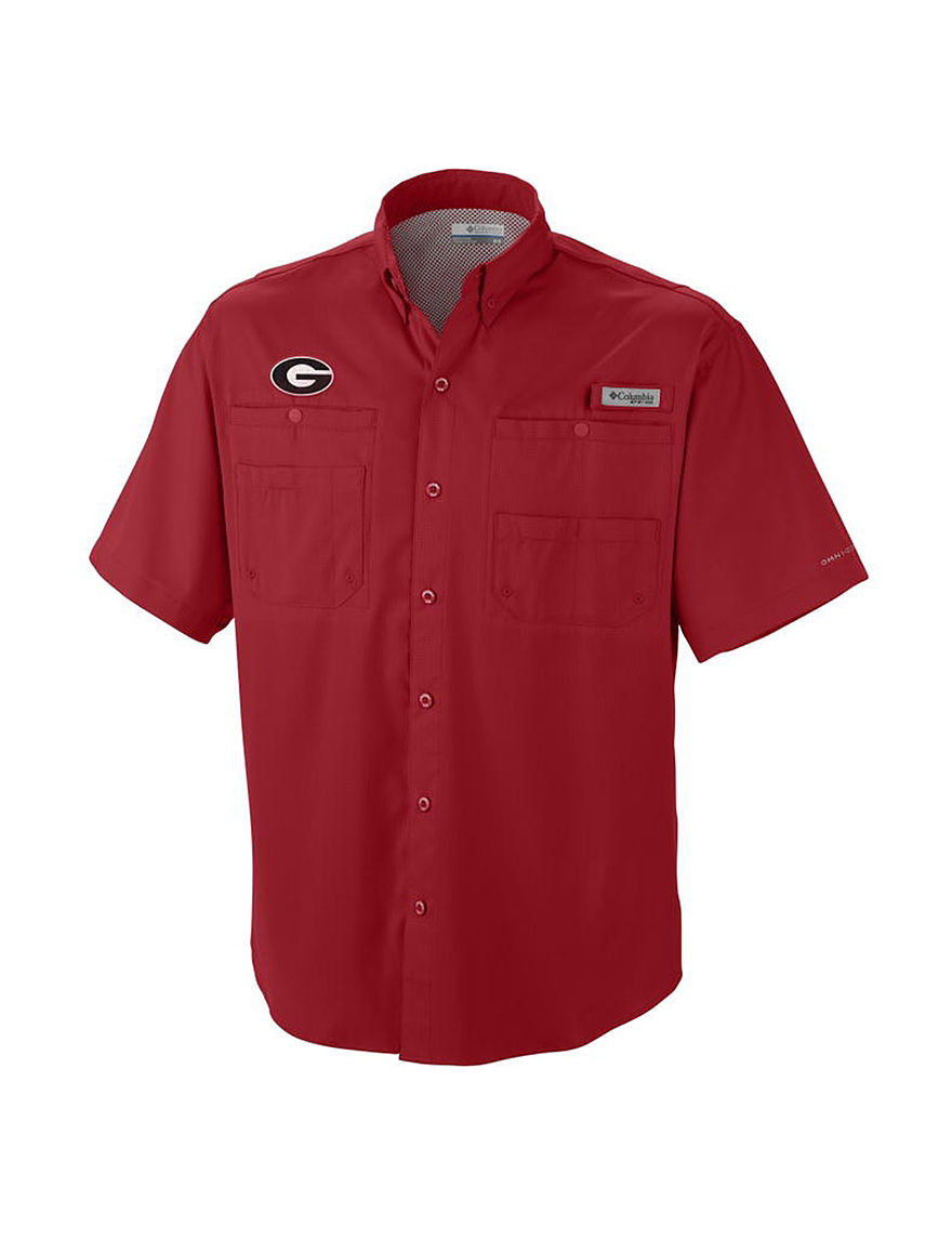 NCAA Bright Red Casual Button Down Shirts