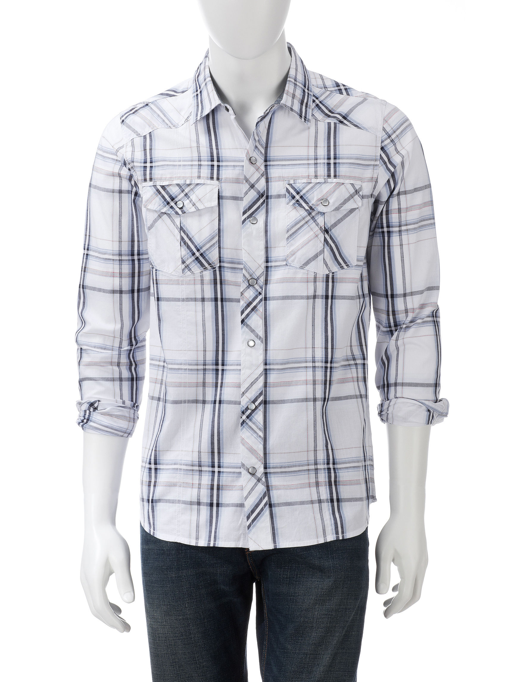 Red Snap White Plaid Casual Button Down Shirts