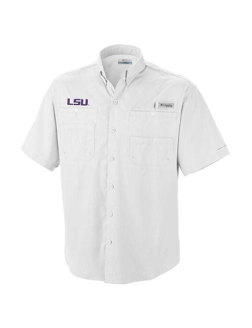 NCAA White Casual Button Down Shirts