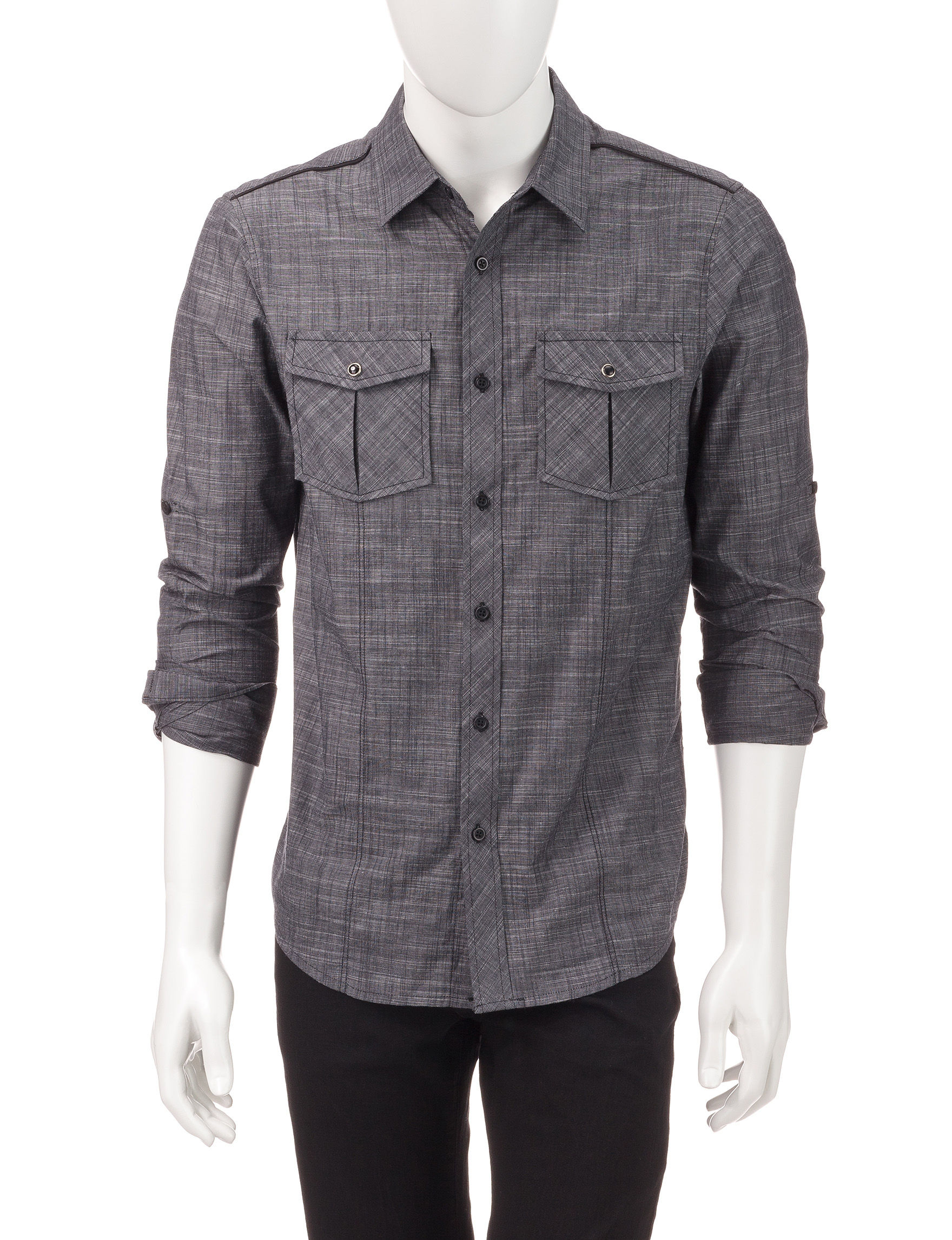 Signature Studio Charcoal Casual Button Down Shirts