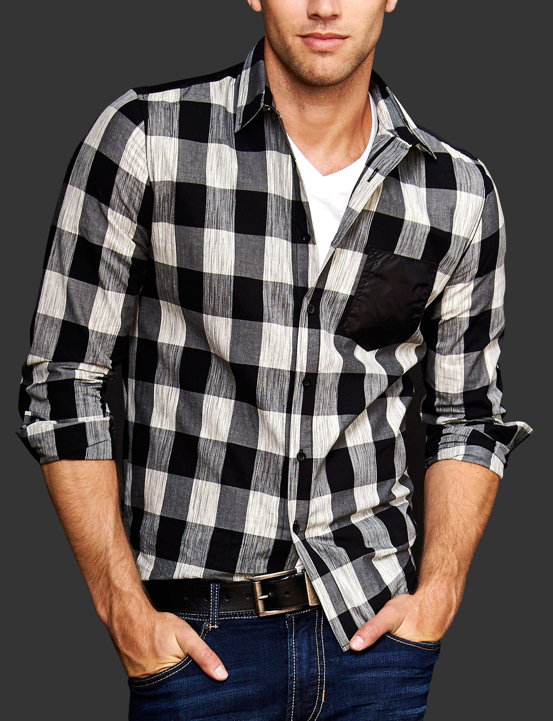 Signature Studio Black Casual Button Down Shirts
