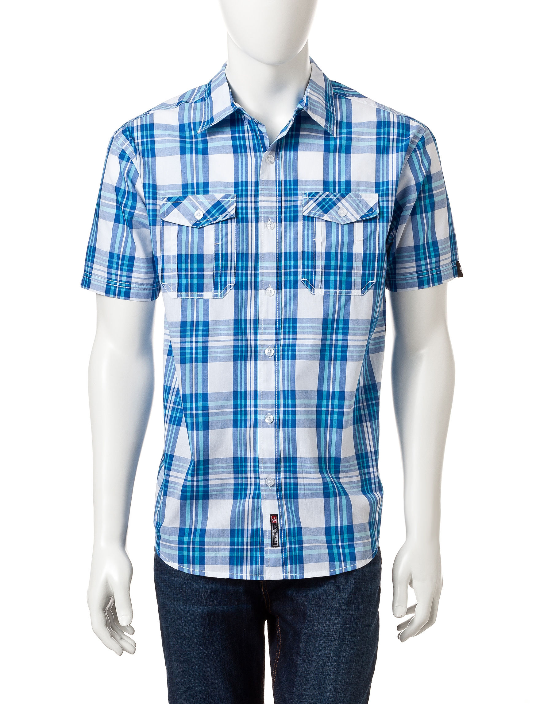 Southpole Royal Blue Casual Button Down Shirts