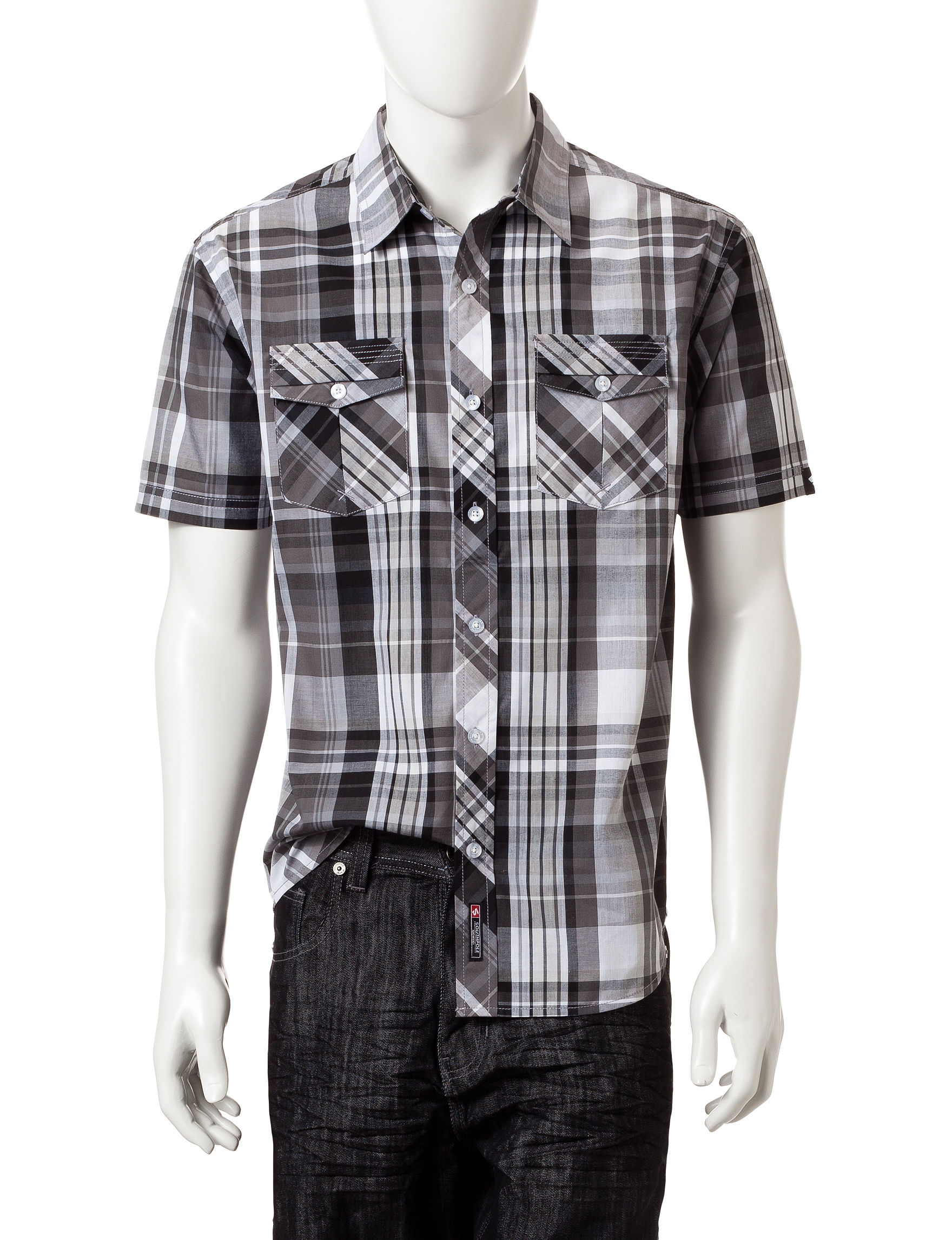 Southpole Black Casual Button Down Shirts
